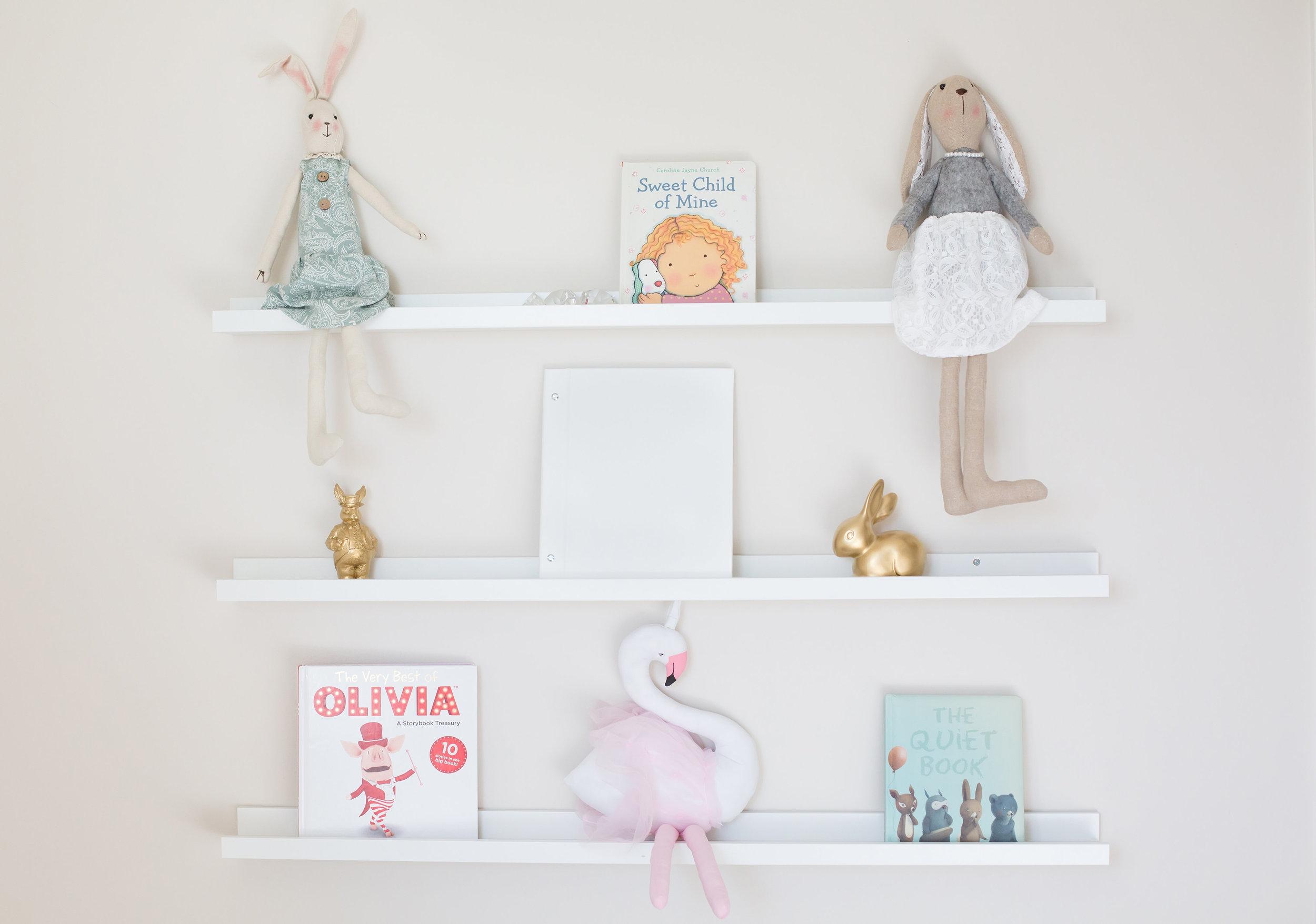 Nursery shelf styling
