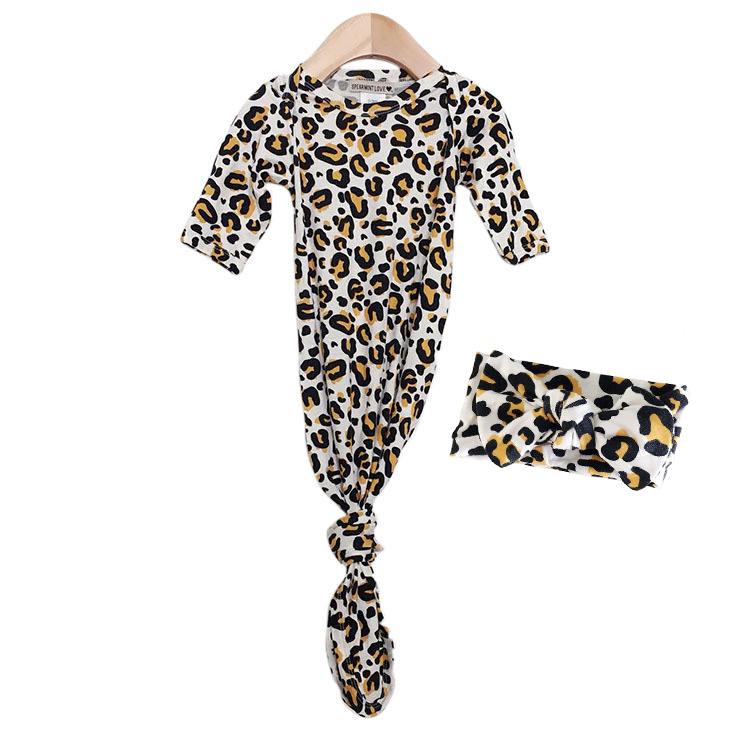 Knotted Gown & Bow Set, Leopard