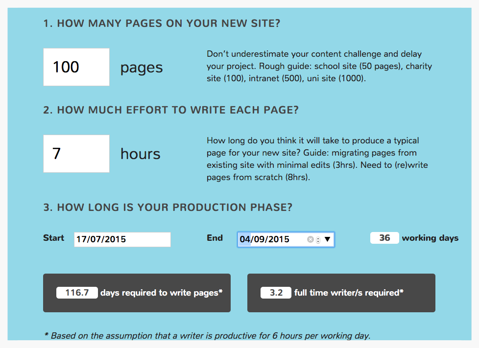 Plug a few variables about your content production challenge into the calculator and start to get some juicy numbers to help resource the project.