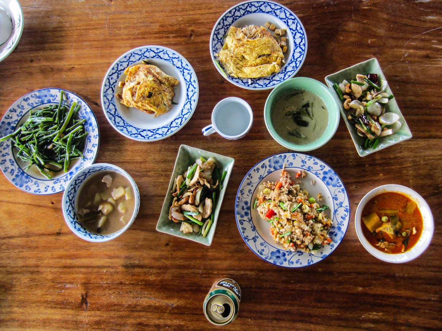 Collection of cooked-by-our-hands Thai food + Beer Chang = Full Bellies