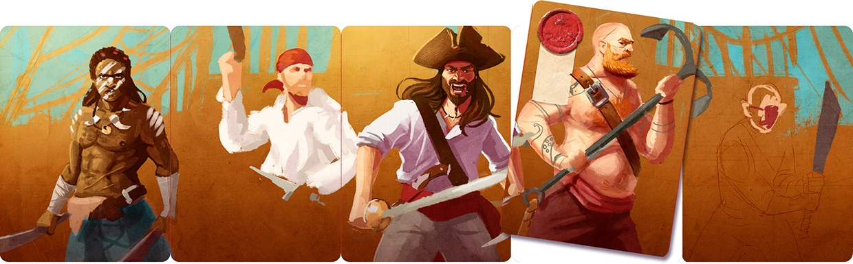 First rough colour concept - I like the idea that each set of cards forms a panorama.