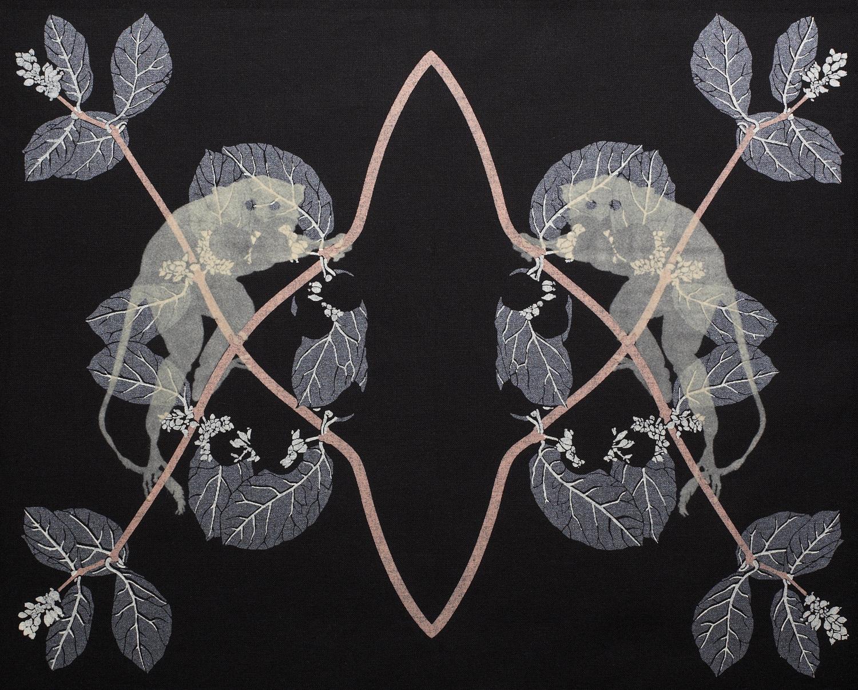 'Spectrals' (2006) Silk screen print: pigment and flock on cotton, 50cm x 50cm.