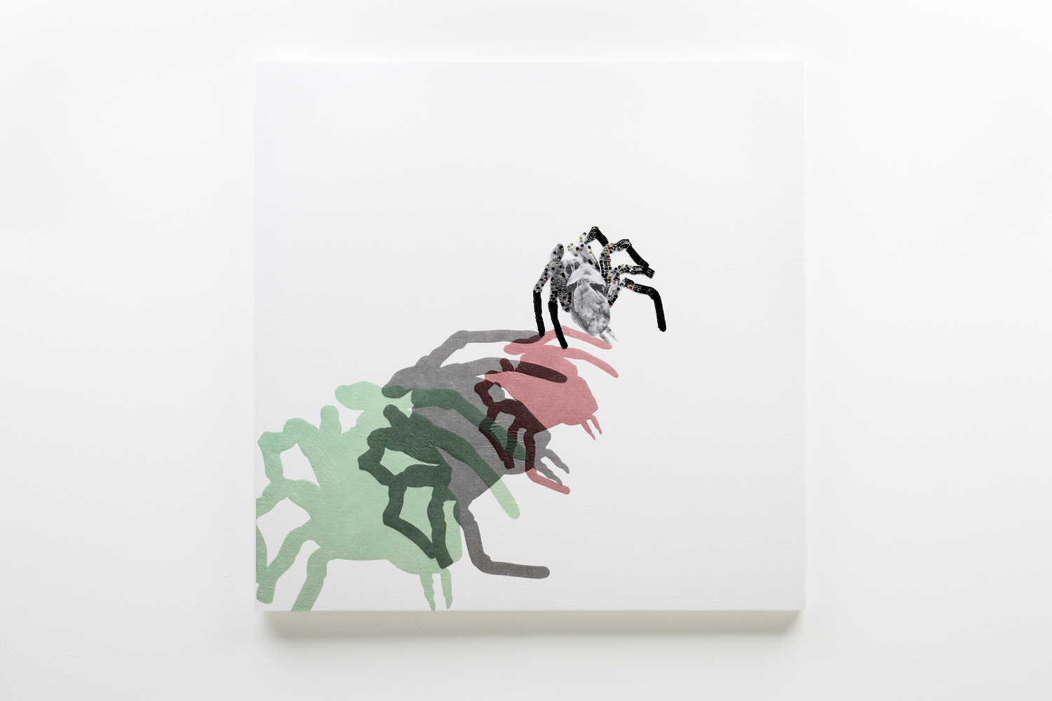 'Spider Skin' (2009) Hand embroidered digital print and collage on linen, stretched on wooden frame, 100cm x100cm.