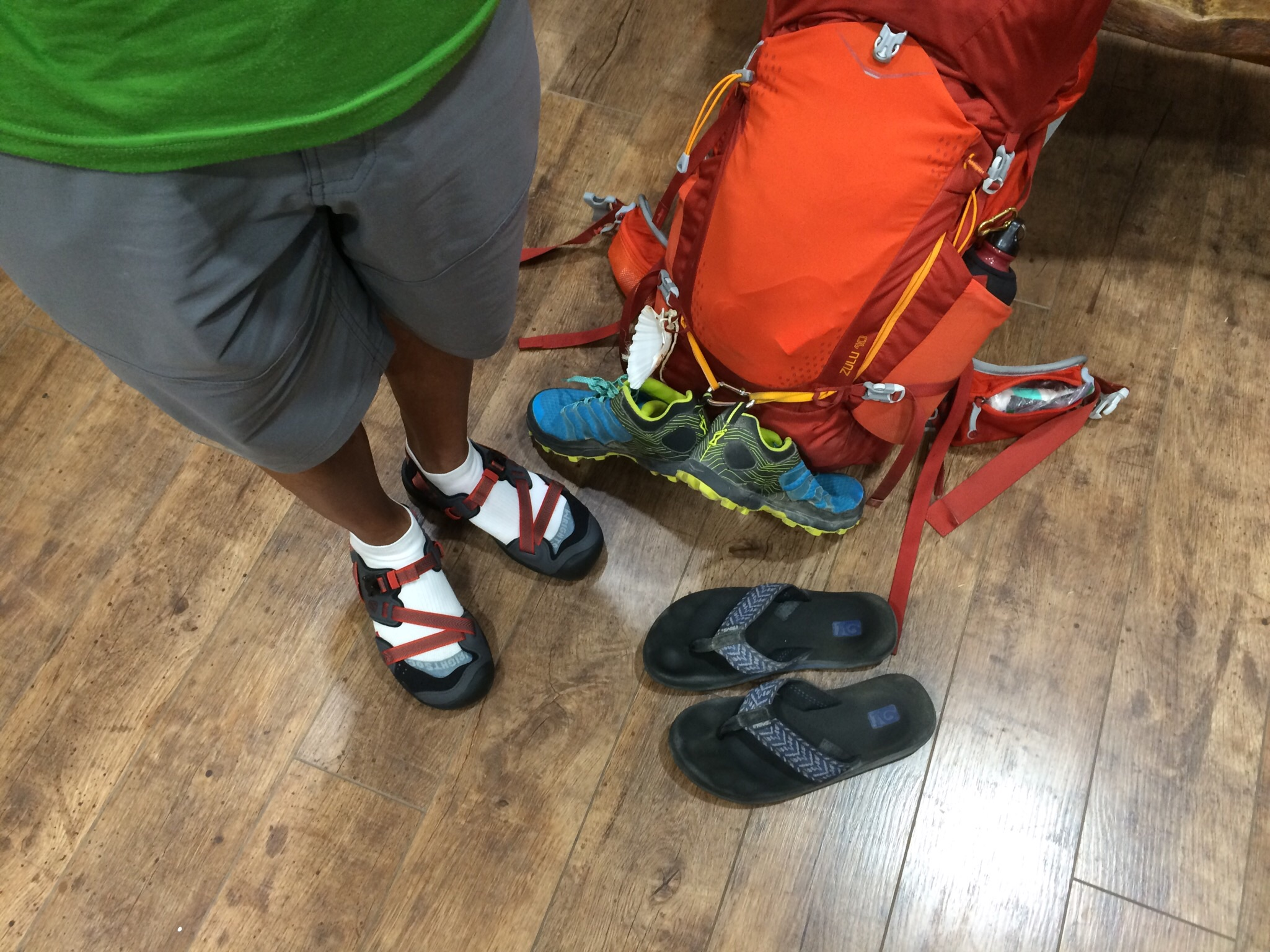 We finally upgraded Father Loc to the performance sandal category.  The Camino is not the beach Padre!