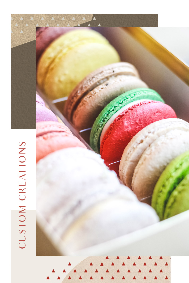 Inspire your holiday with a Custom Creation for you and yours. - Bring Pistacia Vera home for the holidays with our macaron assortments, customized gifts and special orders. Begin your order online or call us today, and a team member will be happy to help you.