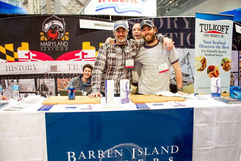 Jay Fleming, Timothy Devine, Steve Vilnit, and John Kutner representing Maryland Seafood at Seafood Expo NA.