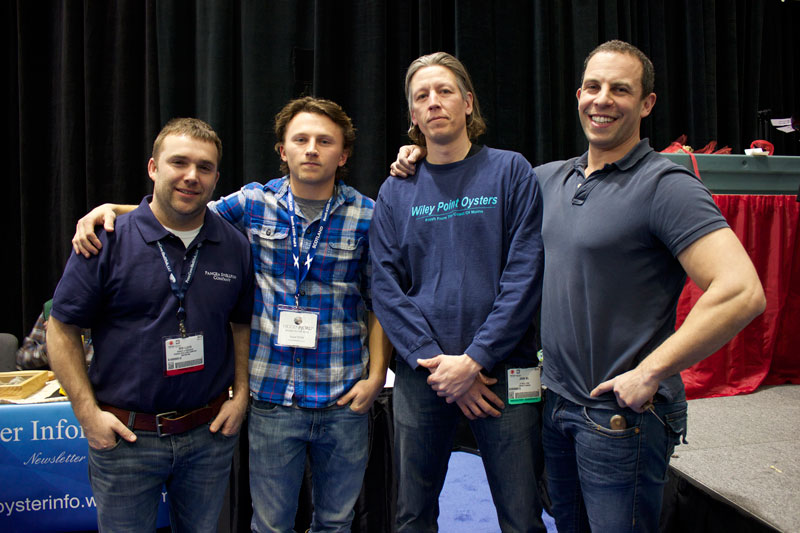 Ben Lloyd, Paul Hagan, John Bil, and Daniel Notkin before the annual Seafood Expo NA Oyster Shucking Competition.