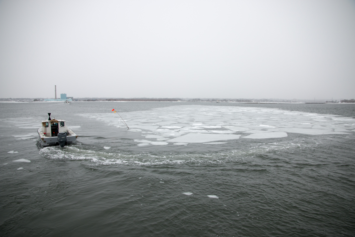 Floating ice near the Norwalk Islands