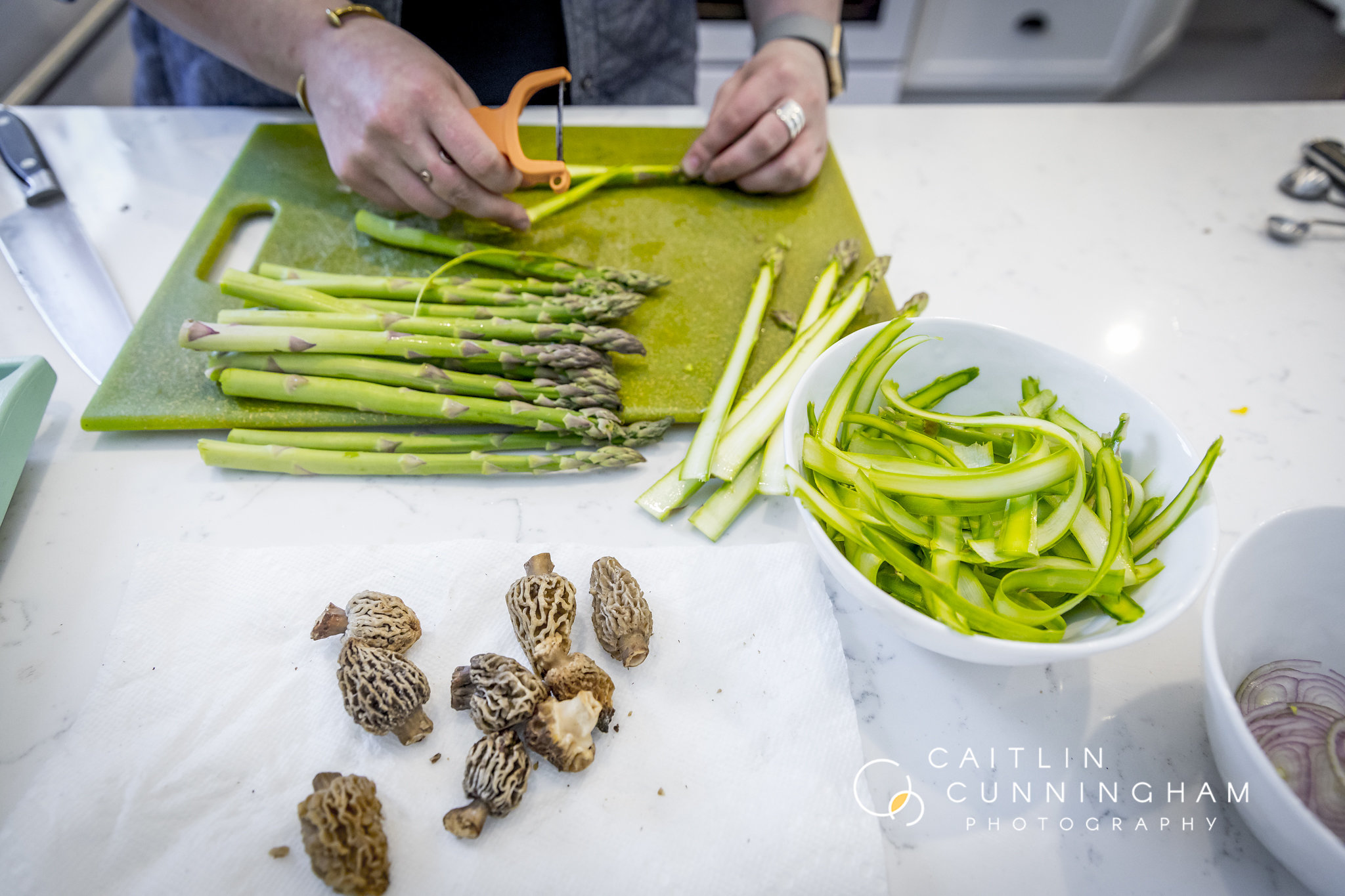 shaved and sliced asparagus