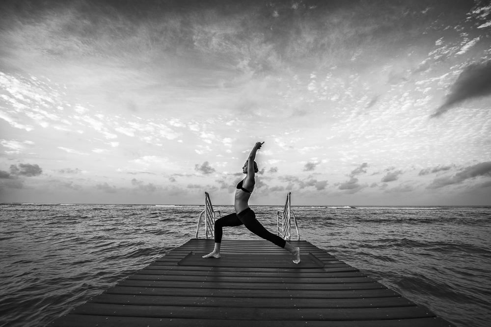 Crescent pose # yoga on the dock