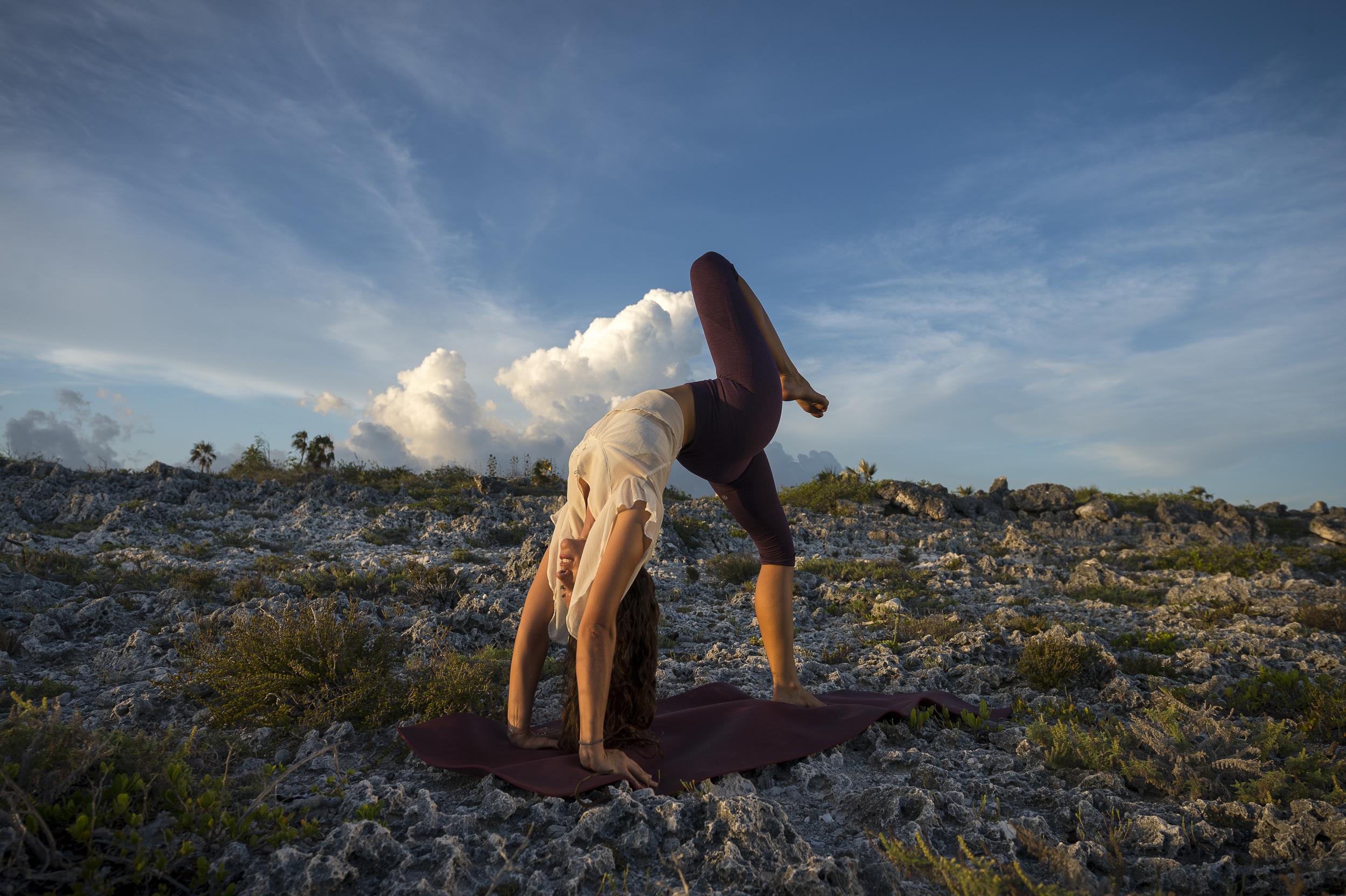 Stunning backbending at sunset #Yoga