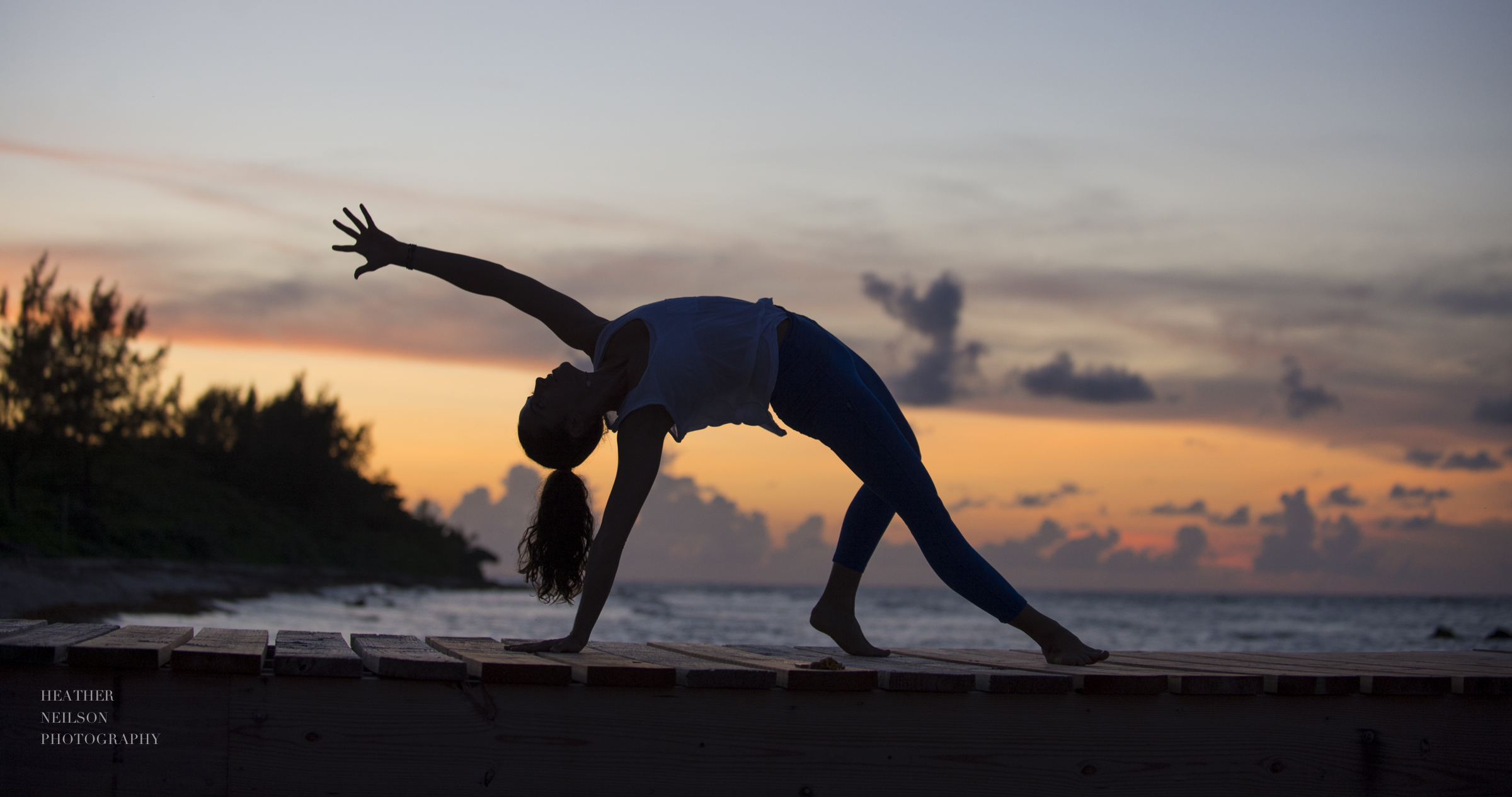 Beautiful sunset yoga photography Cayman