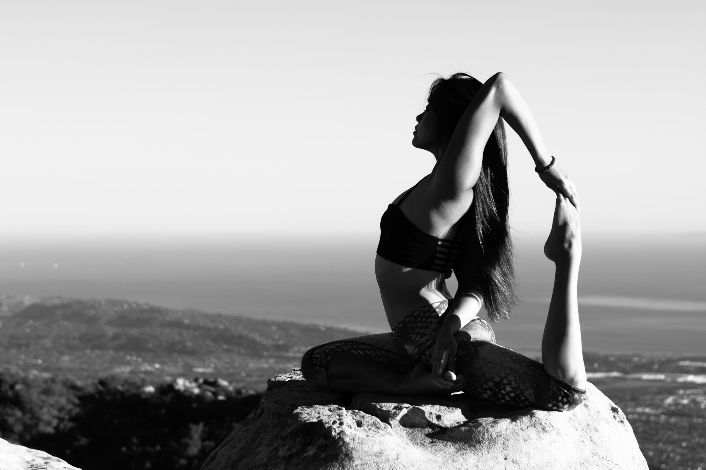 King pigeon asana; Yoga photography Cayman and California