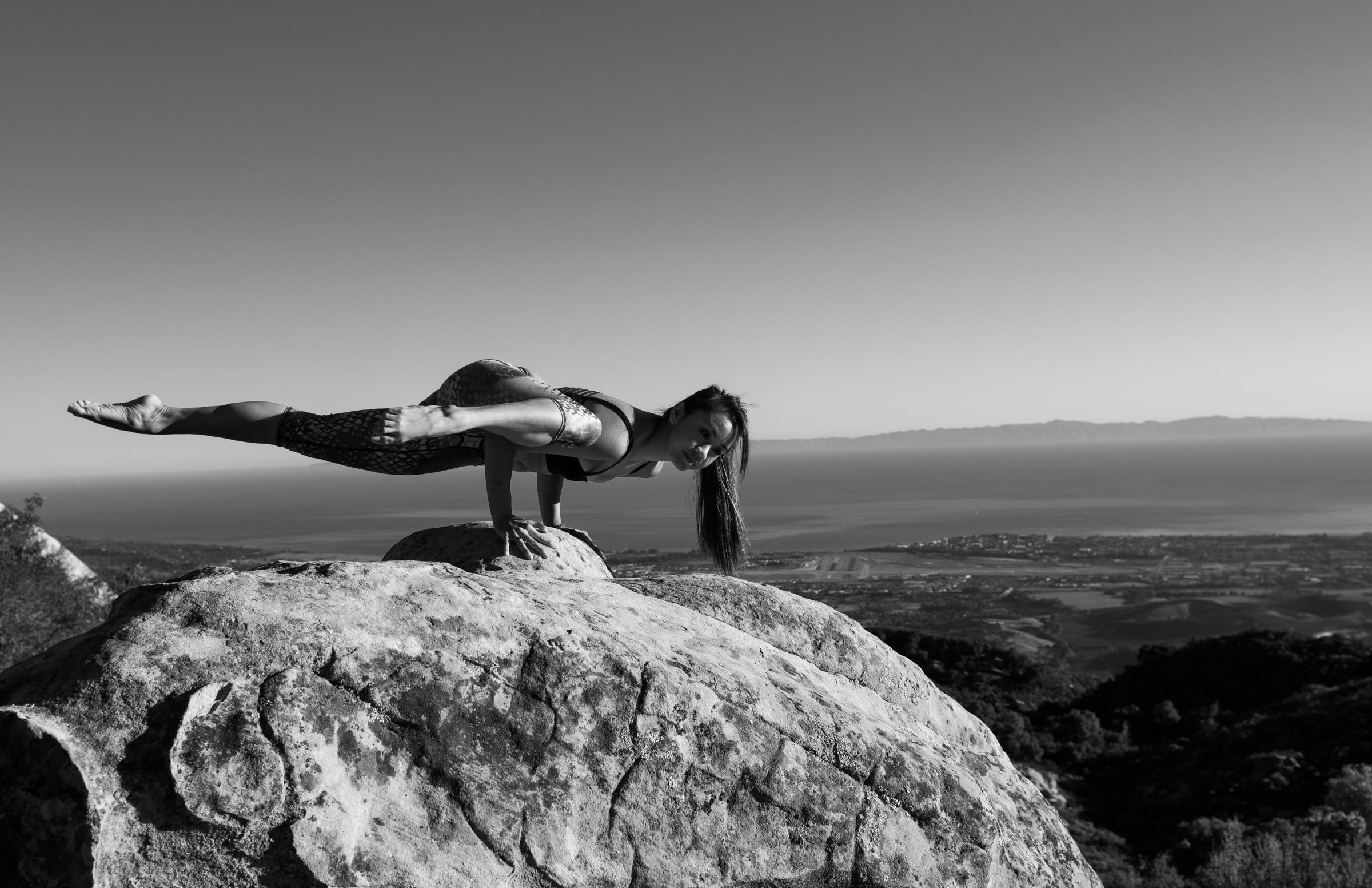 Beautiful sun salutations above Santa Barbara; Yoga photography Cayman and California