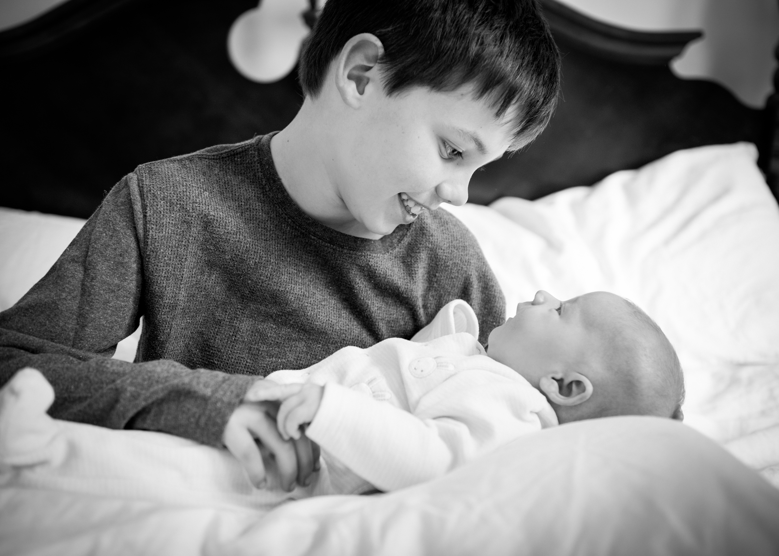 Black and white baby photography, London