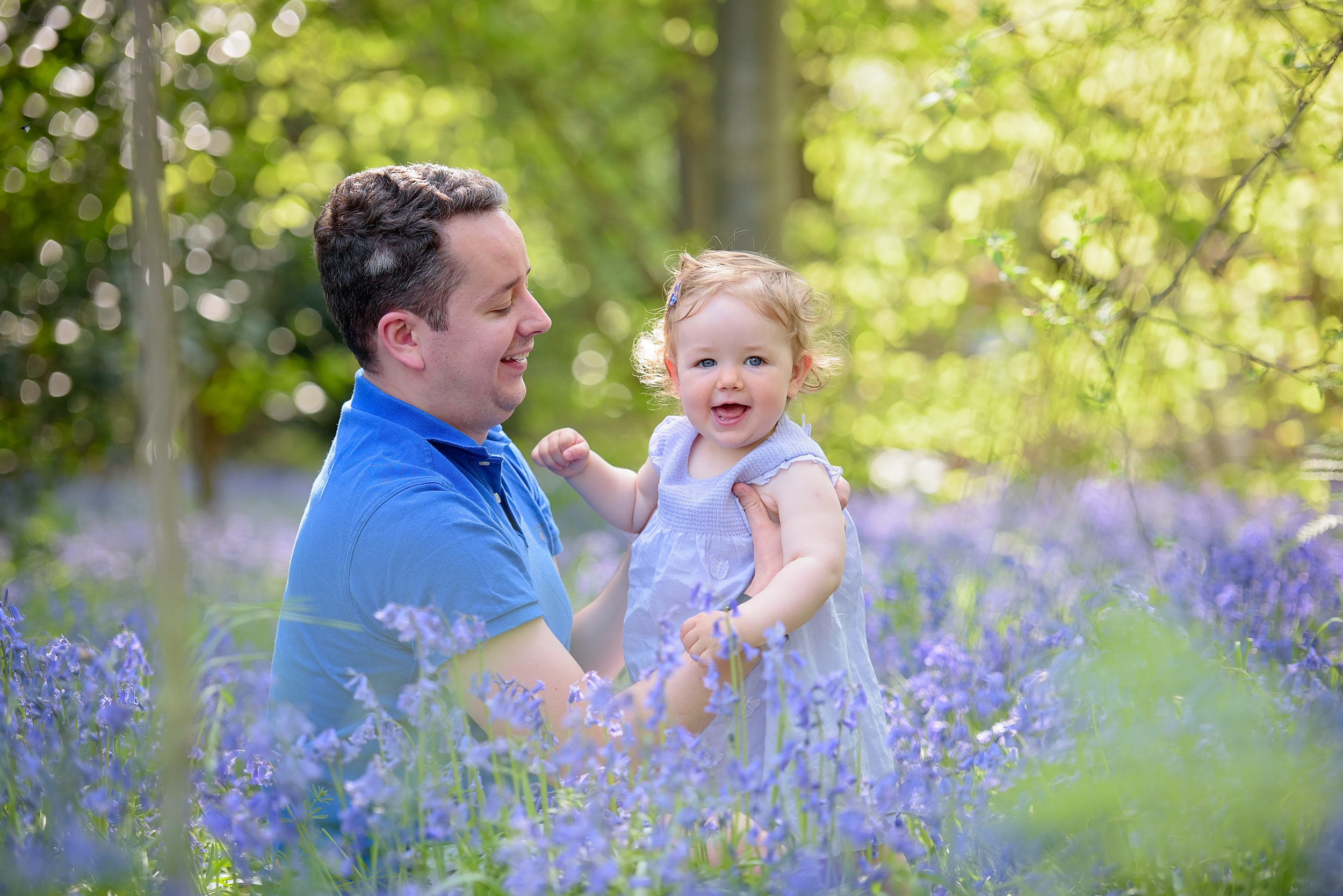 Cute family photoshoot in bluebell woods, London