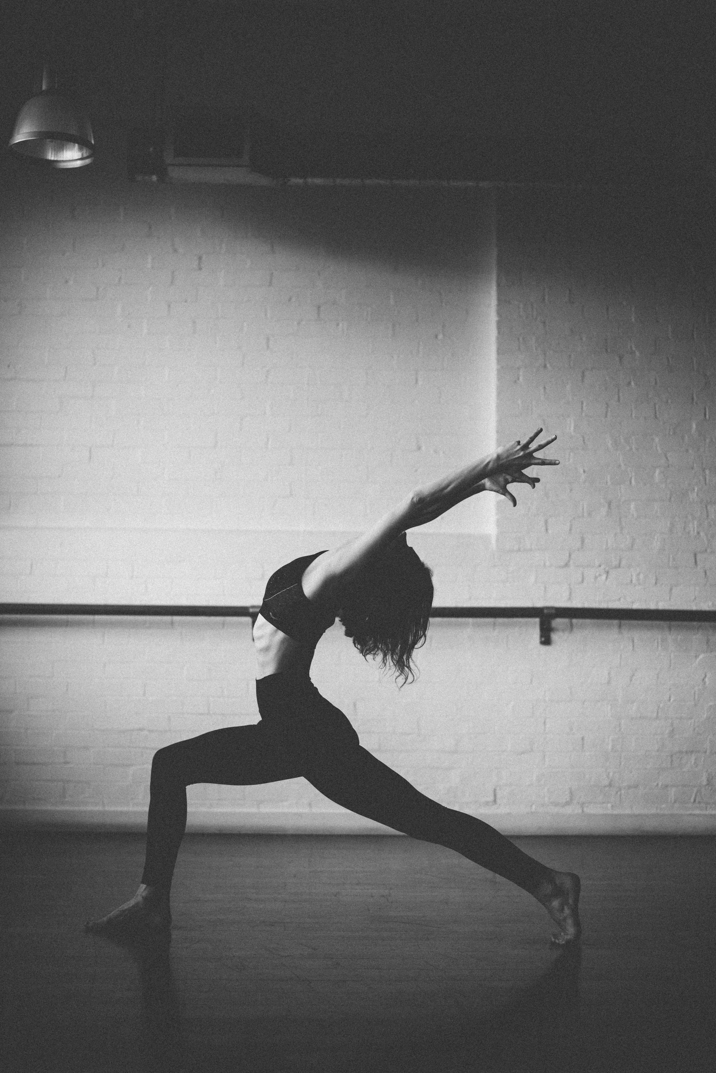 Black and white yoga photography