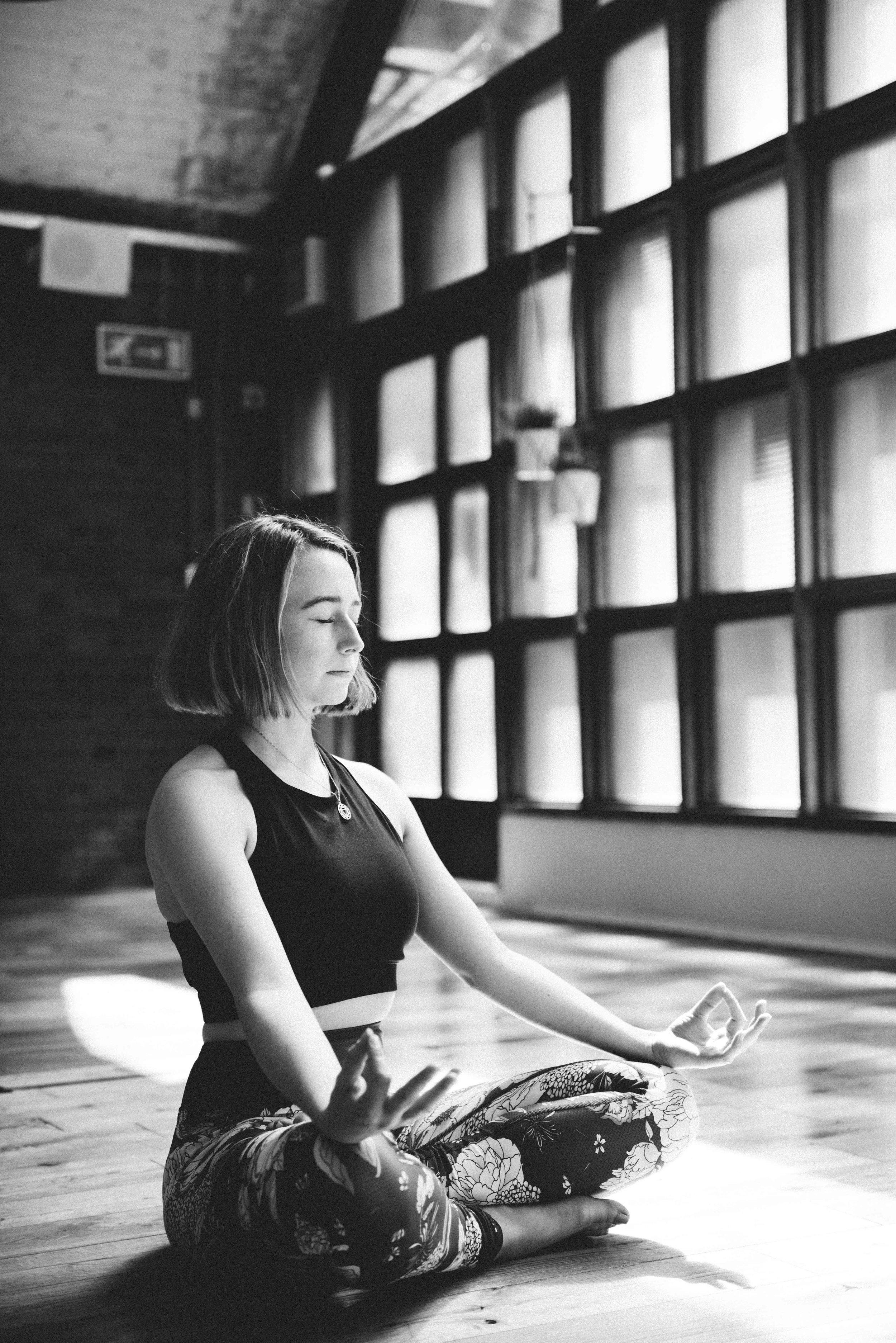 Black and white yoga photos