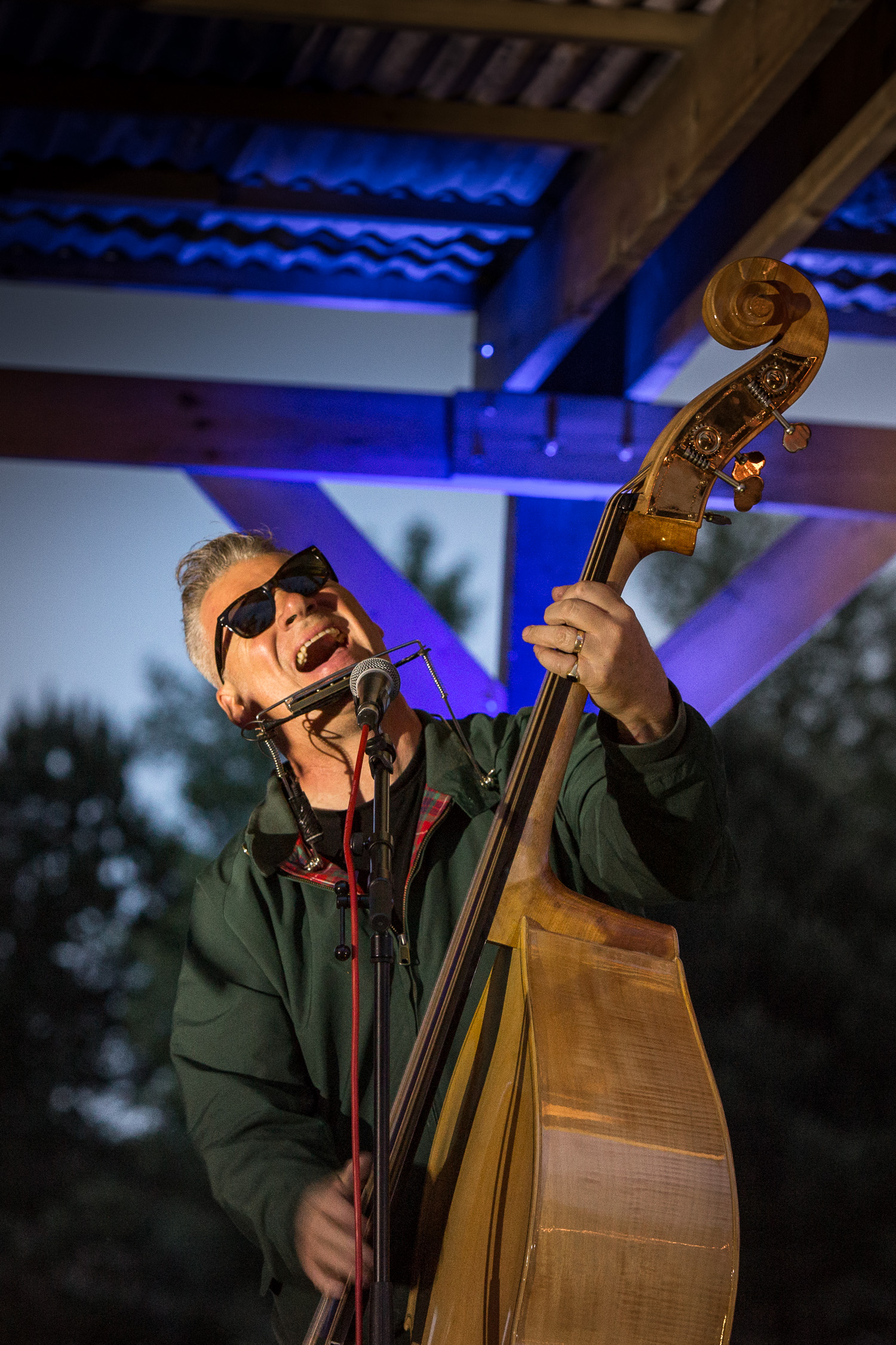Mark Kermode, film critic singer and bass player of The Dodge Brothers at  Offgrid 16