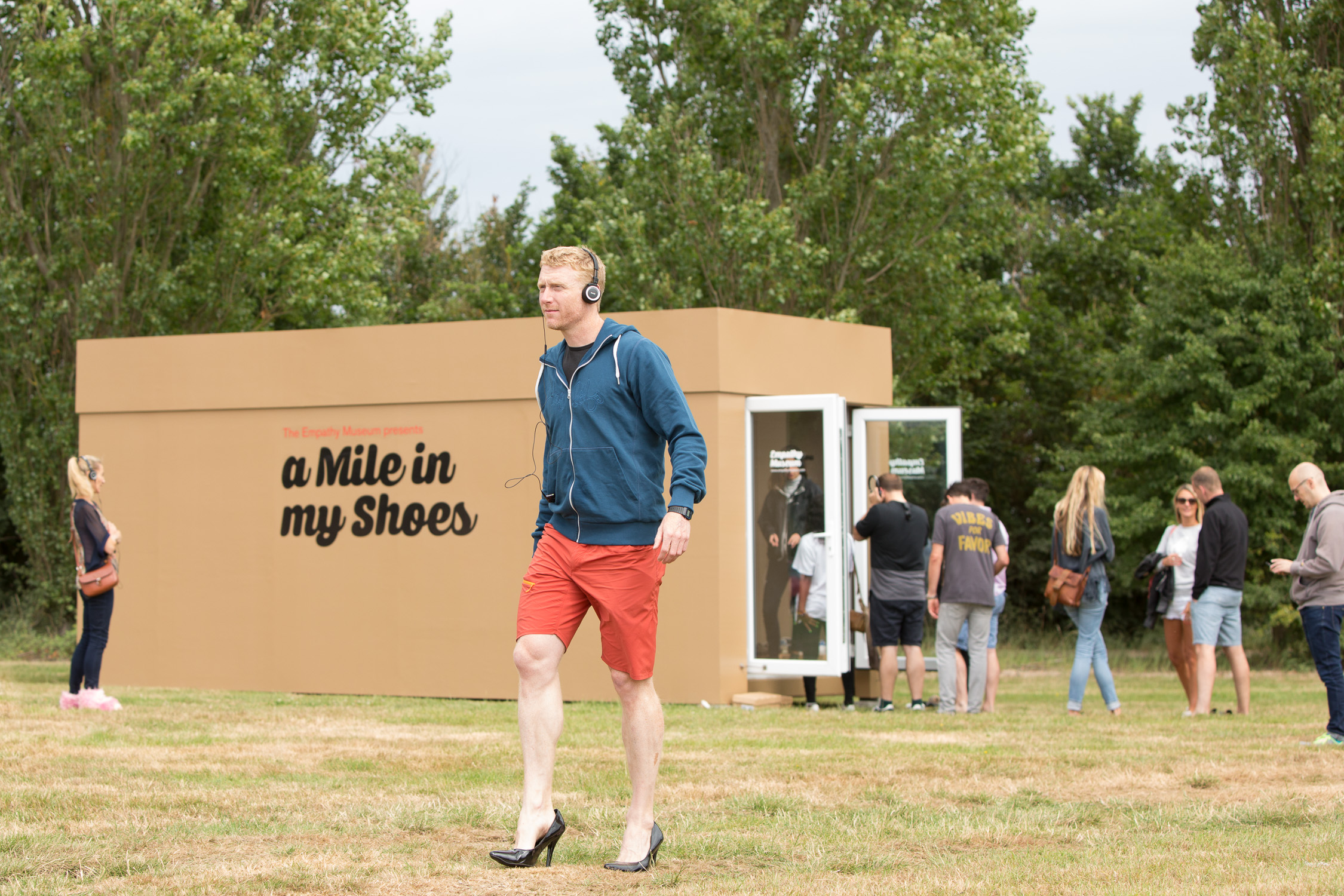 Author and adventurer  Alastair Humphreys  taking part in the  A Mile In My Shoes  exhibit at  Offgrid 2017
