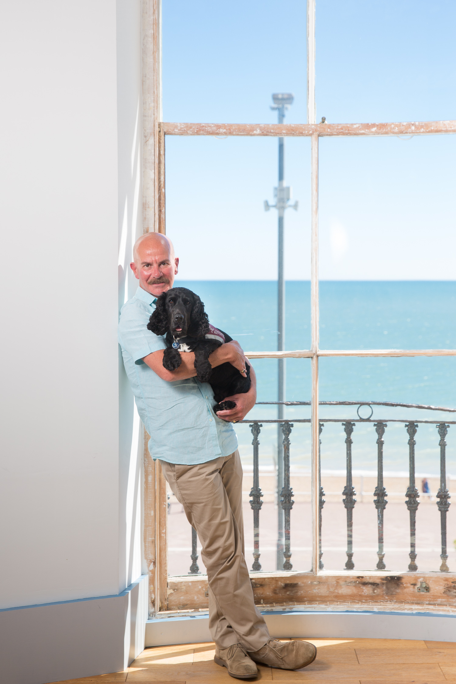 Nick Maes who is deaf with his  hearing dog  Yorrick. For  The Daily Mail .