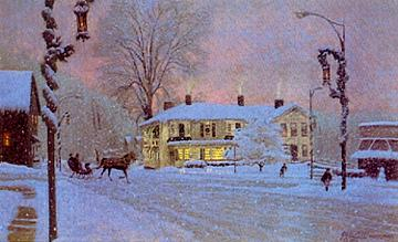 The Tavern in the Snow - 950 Signed & Numbered Limited Edition Print   Size 13 1/2 x 22  in. $150 (unframed)
