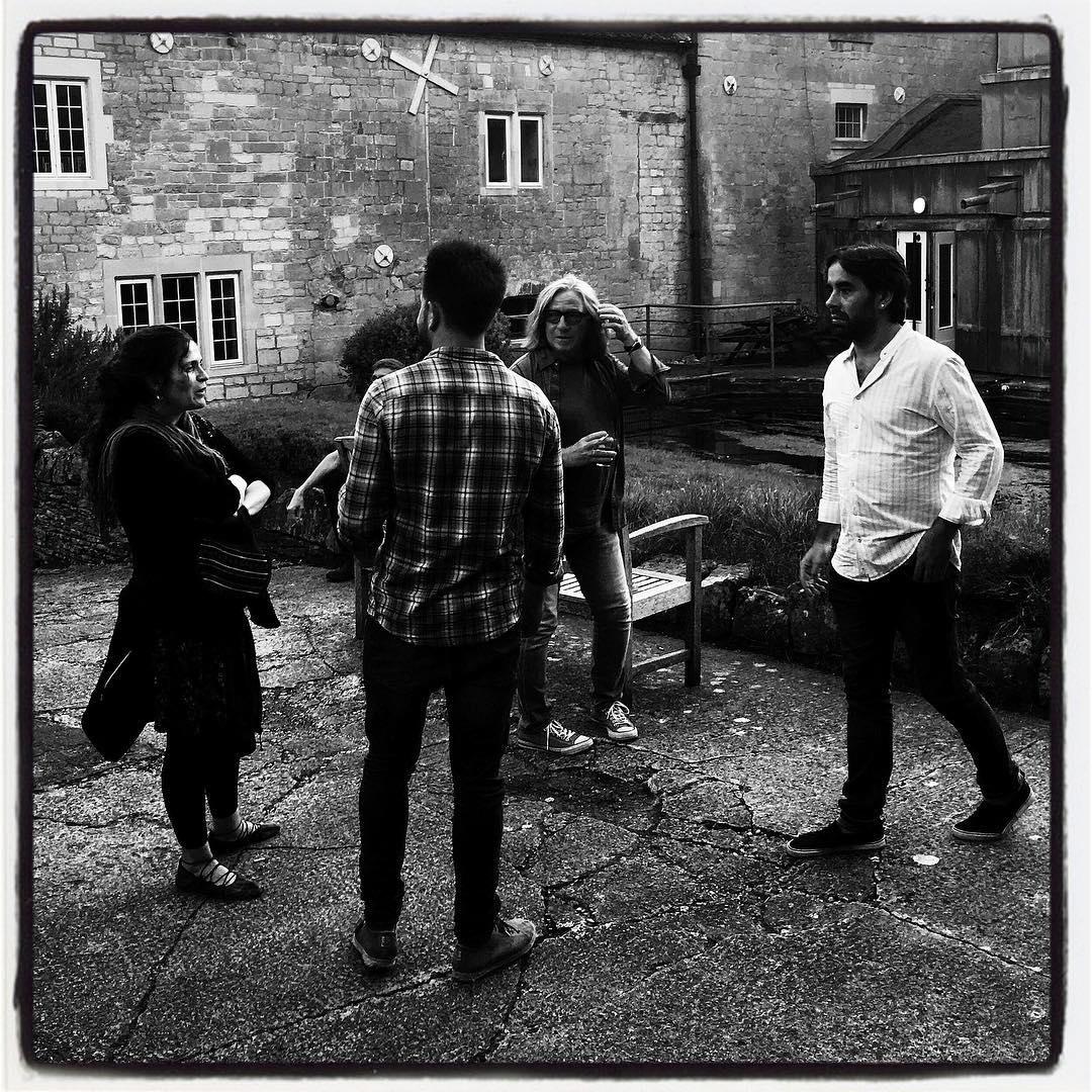 At Real World Studios- Con Daniel Casares, Miguel 'El Nene', Brian Hughes. Foto: Hugh Marsh