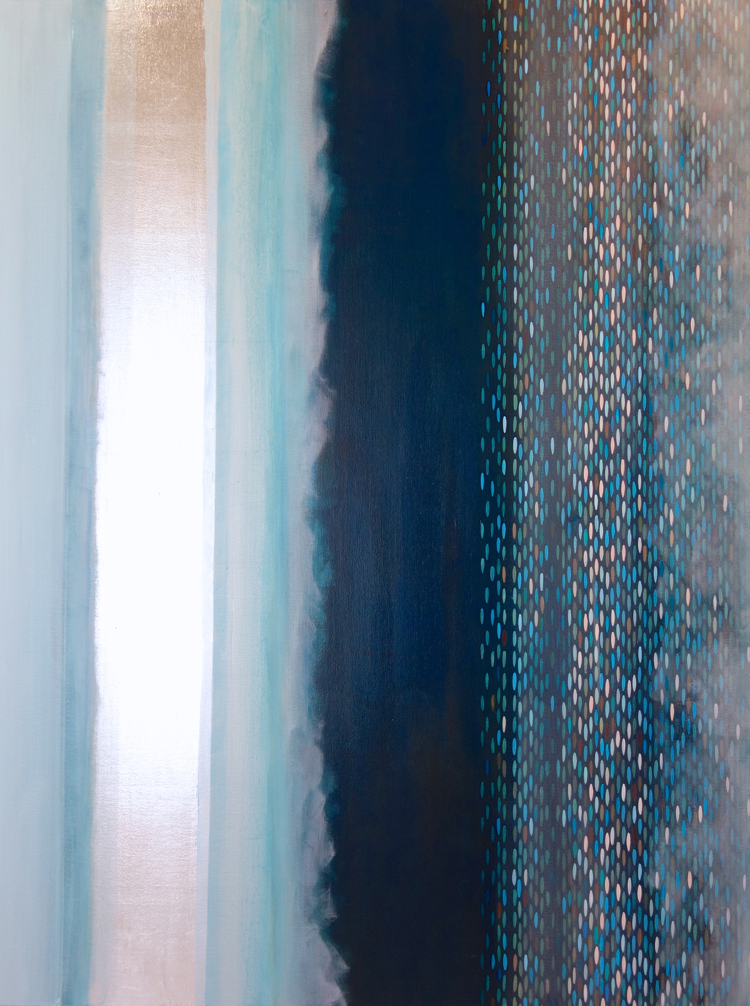 "Spectral Phase #6, 2013, acrylic + alum-silver on canvas, 48""x36"""