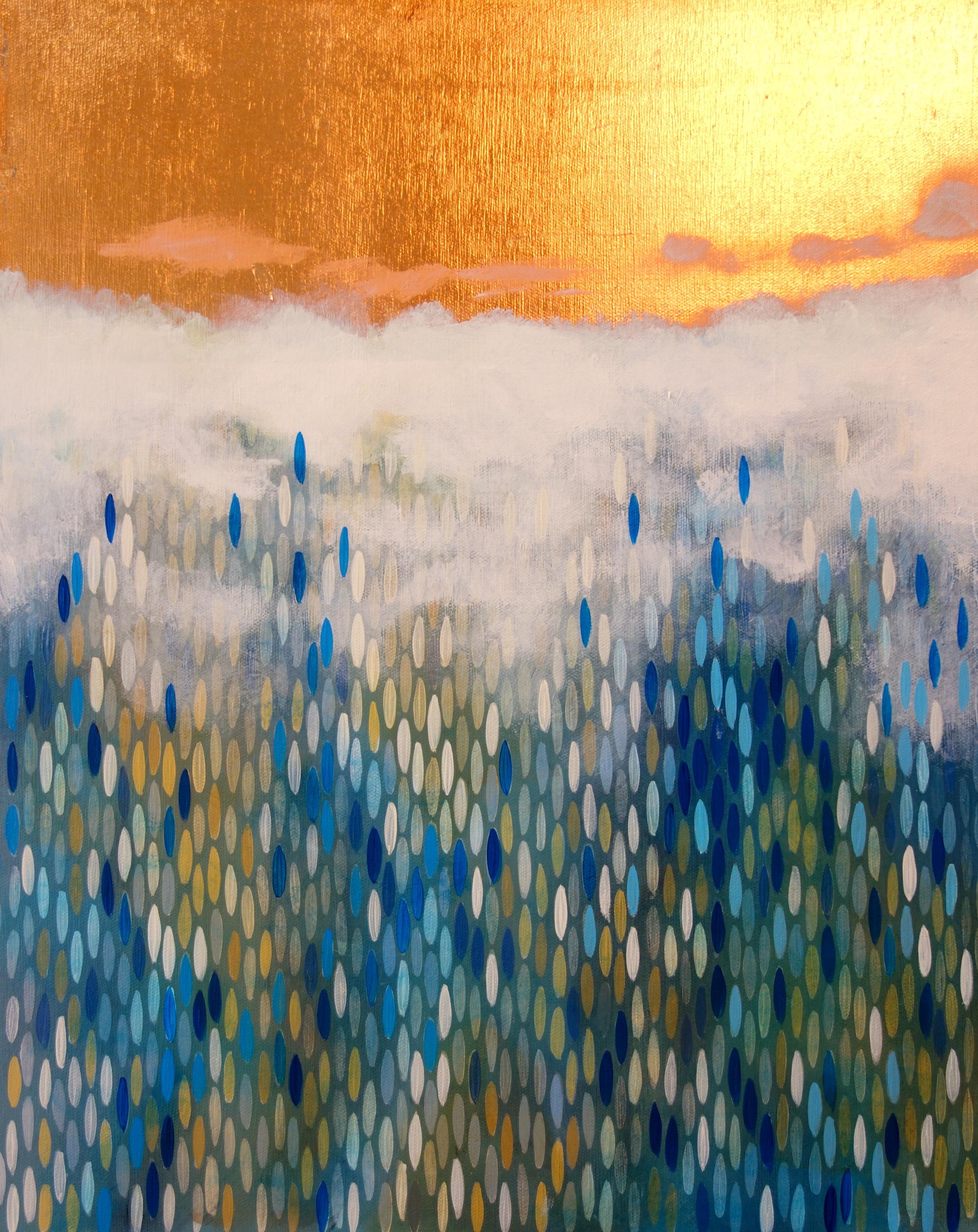 "True North, 2011, acrylic + copper on canvas, 20""x16"""
