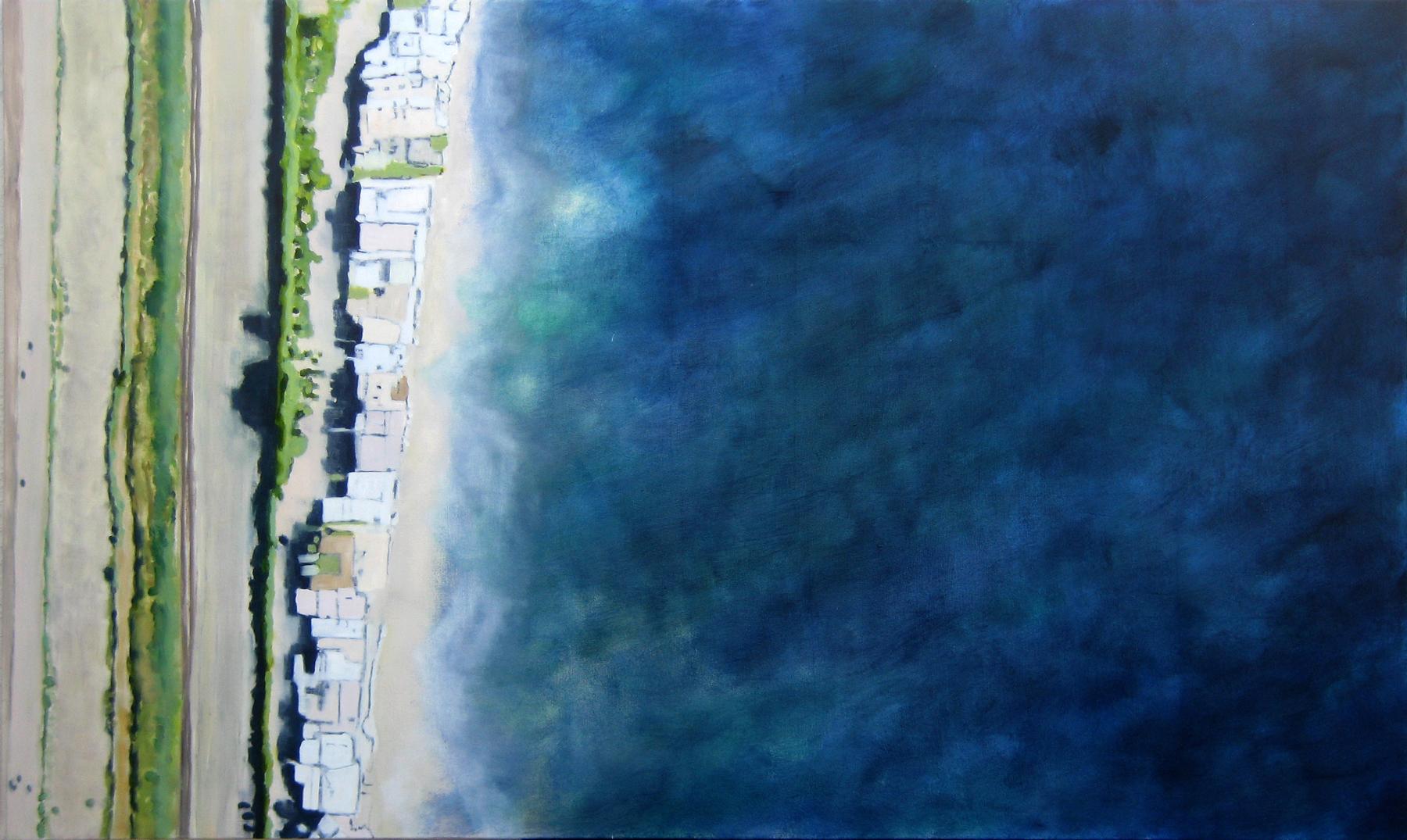 "Adrift, 2009, oil + alum-silver on canvas, 36""x60"""