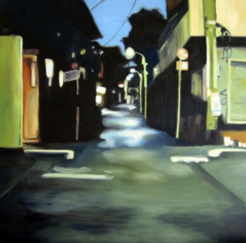 "Street Night,  2000, oil on canvas, 40""x40"" (≈102x102cm)"