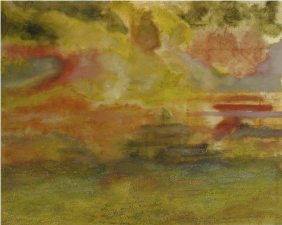 "Red Horizon, 2006, oil + gold leaf on canvas, 48""x60"" (≈122x152cm)"