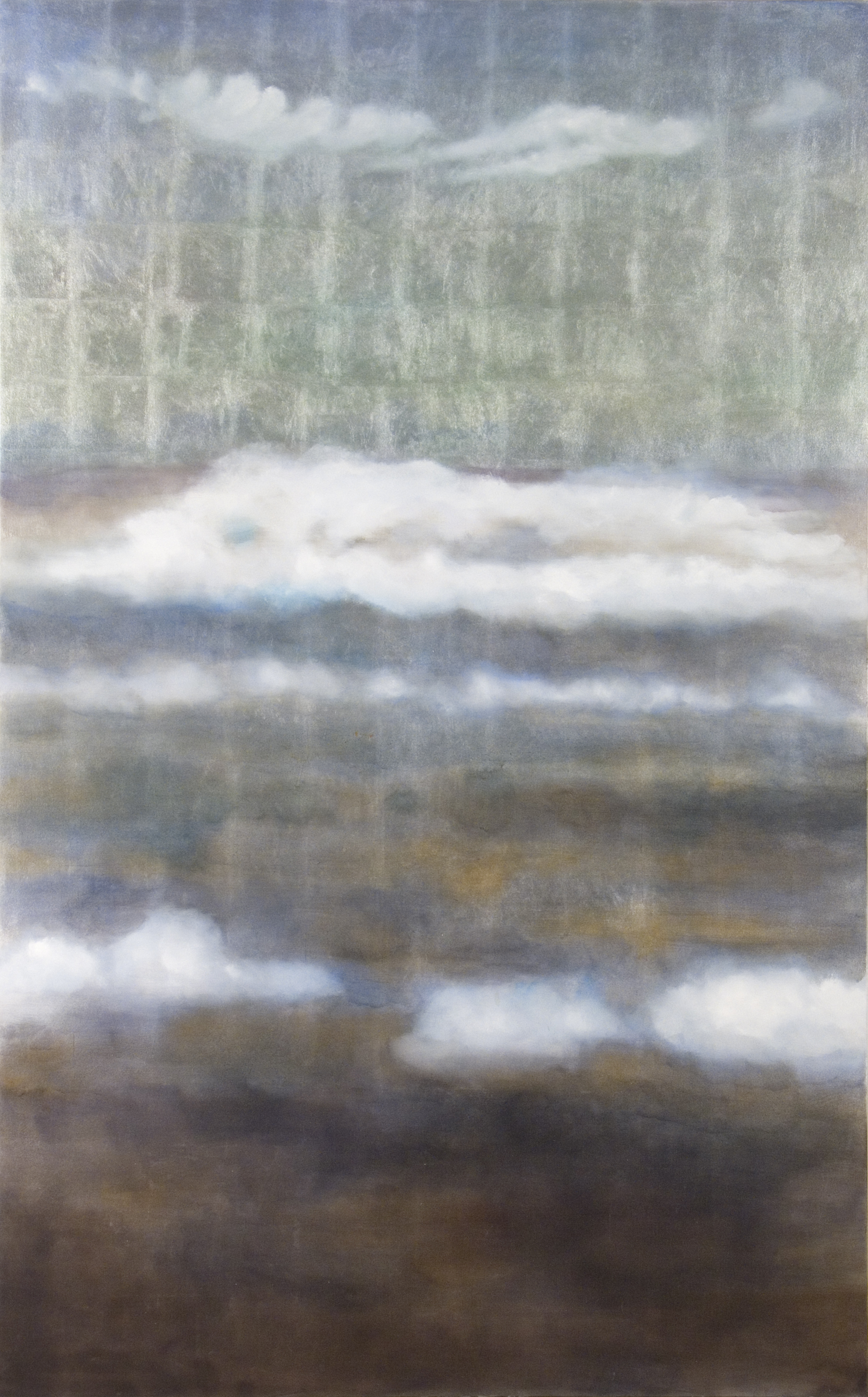 "No Such Place, 2006, oil + alum-silver on canvas, 96""x60"" (≈244x152cm)"