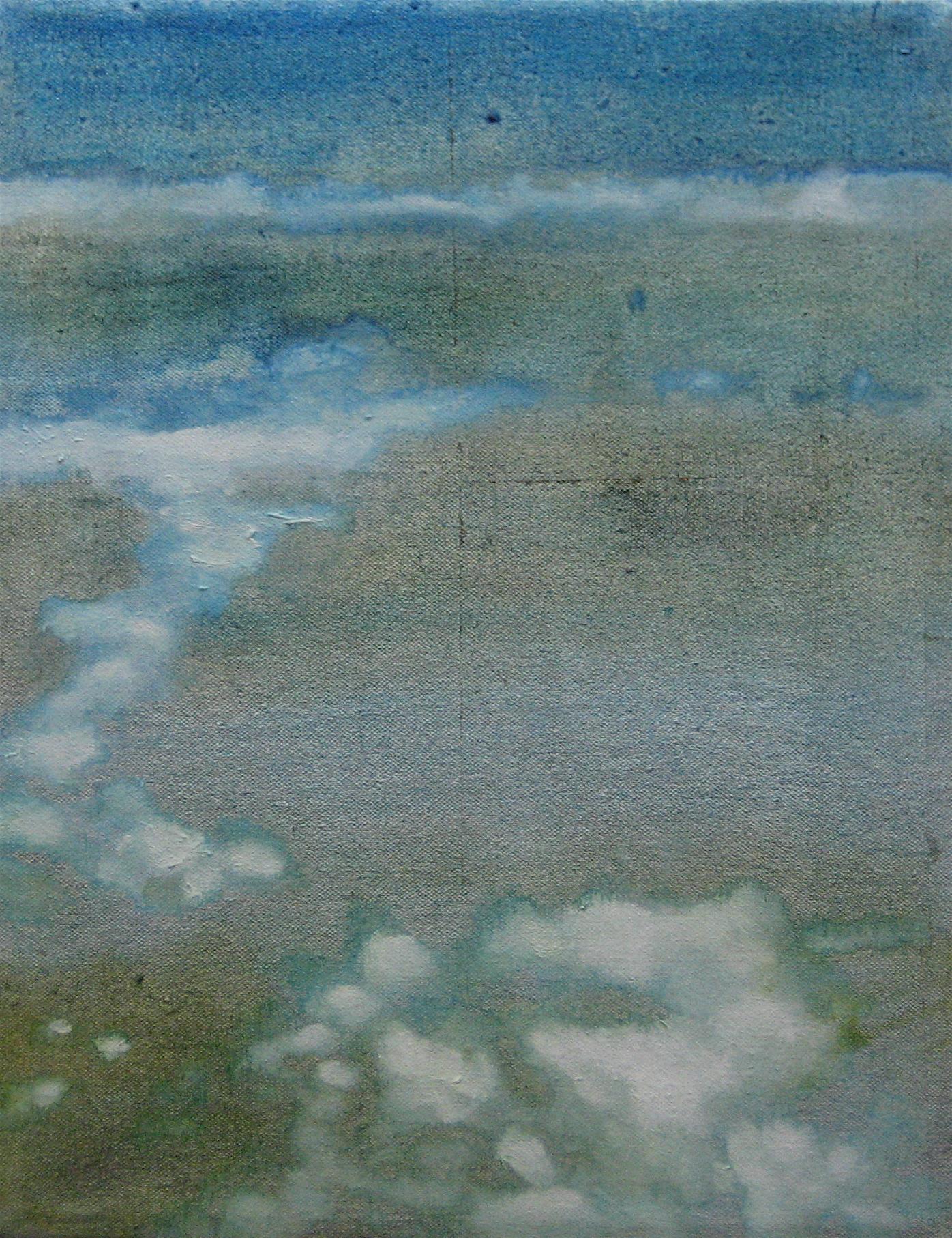 "Cloud Study No. 3, 2006, oil + alum-silver on canvas,14""x11"" (≈36x28cm)"