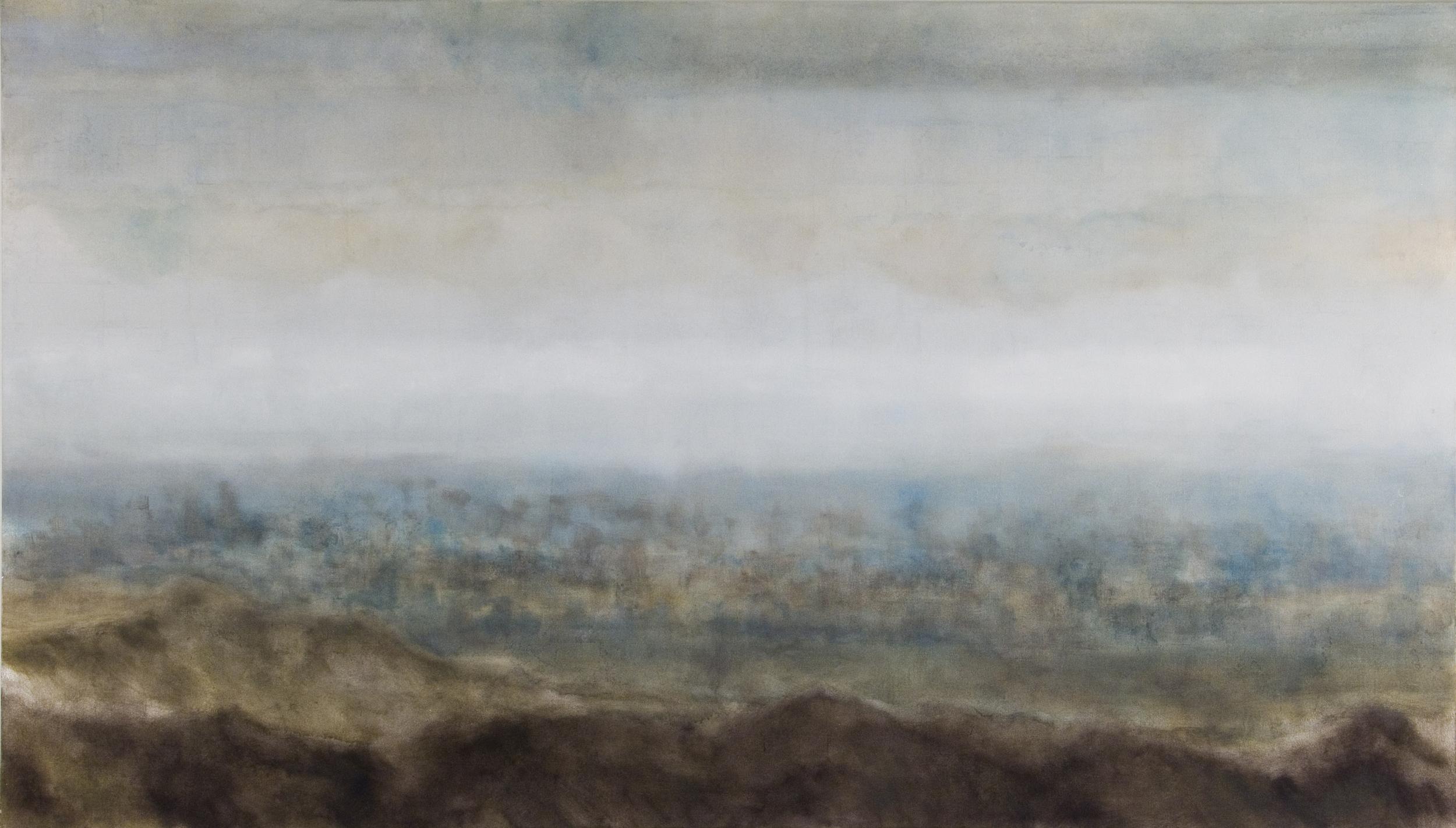 "No Blue Sky, 2006, oil + alum-silver on canvas, 48""x84 (≈123x213cm)"