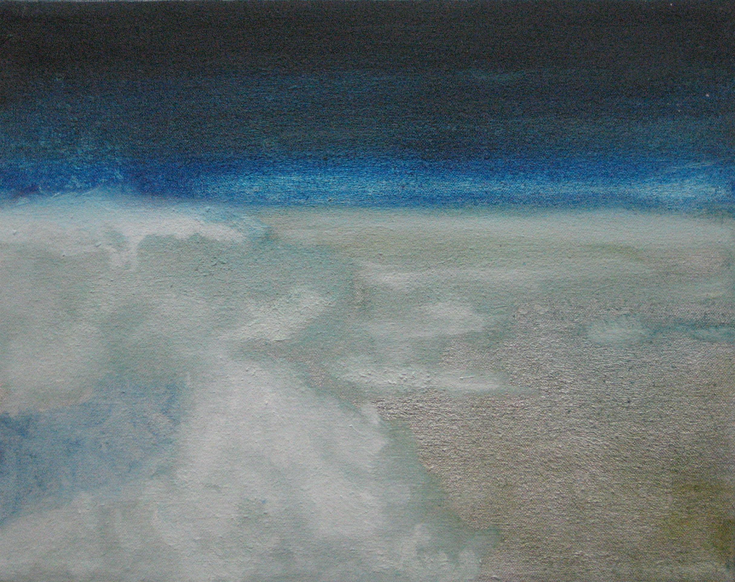 "Cloud Study No. 4, 2006, oil + alum-silver on canvas 11""x14"" (≈28x36cm)"