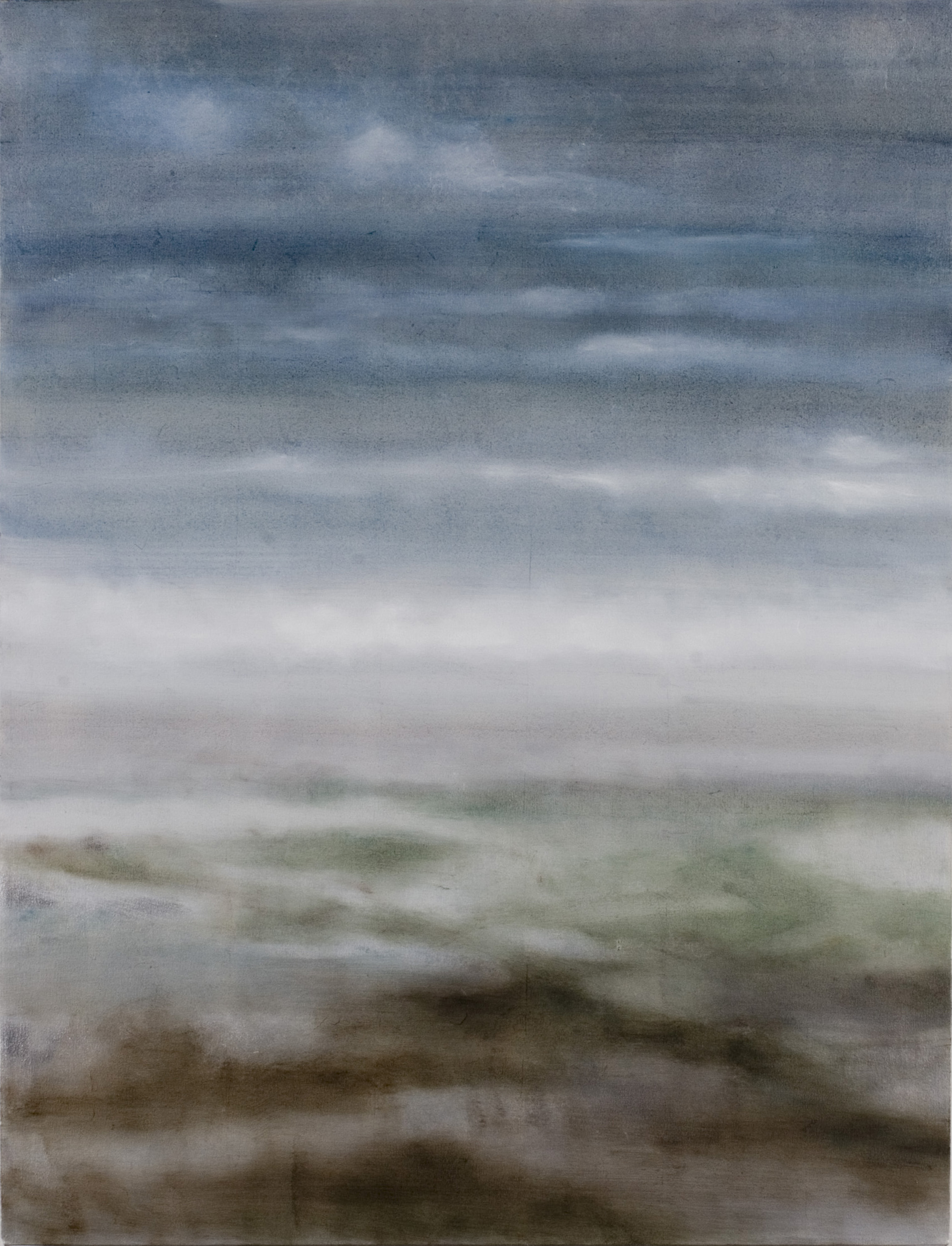 """Between Places, 2007, oil + alum-silver on canvas, 45""""x35"""" (≈114x89cm)"""