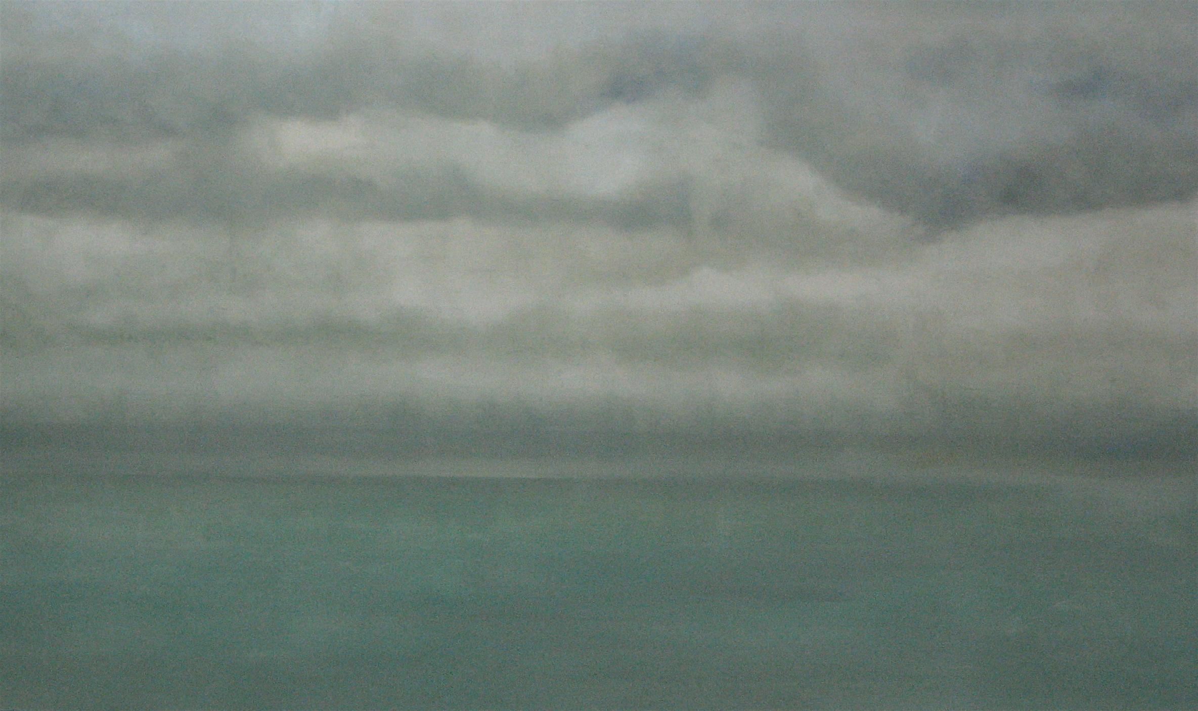 "Jade Sea, 2007, oil + alum-silver on canvas, 36""x60"" (≈91x152cm)"