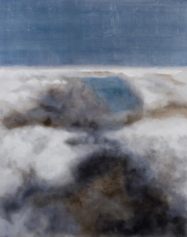 """Turbulence, 2007, oil + alum-silver on canvas, 60""""x48"""" (≈152x122cm)"""