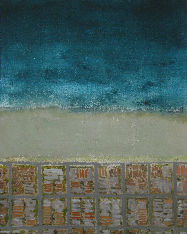 """Huntington Roofs, 2008, oil + alum-silver on canvas, 14""""x11"""" (≈36x28cm)"""