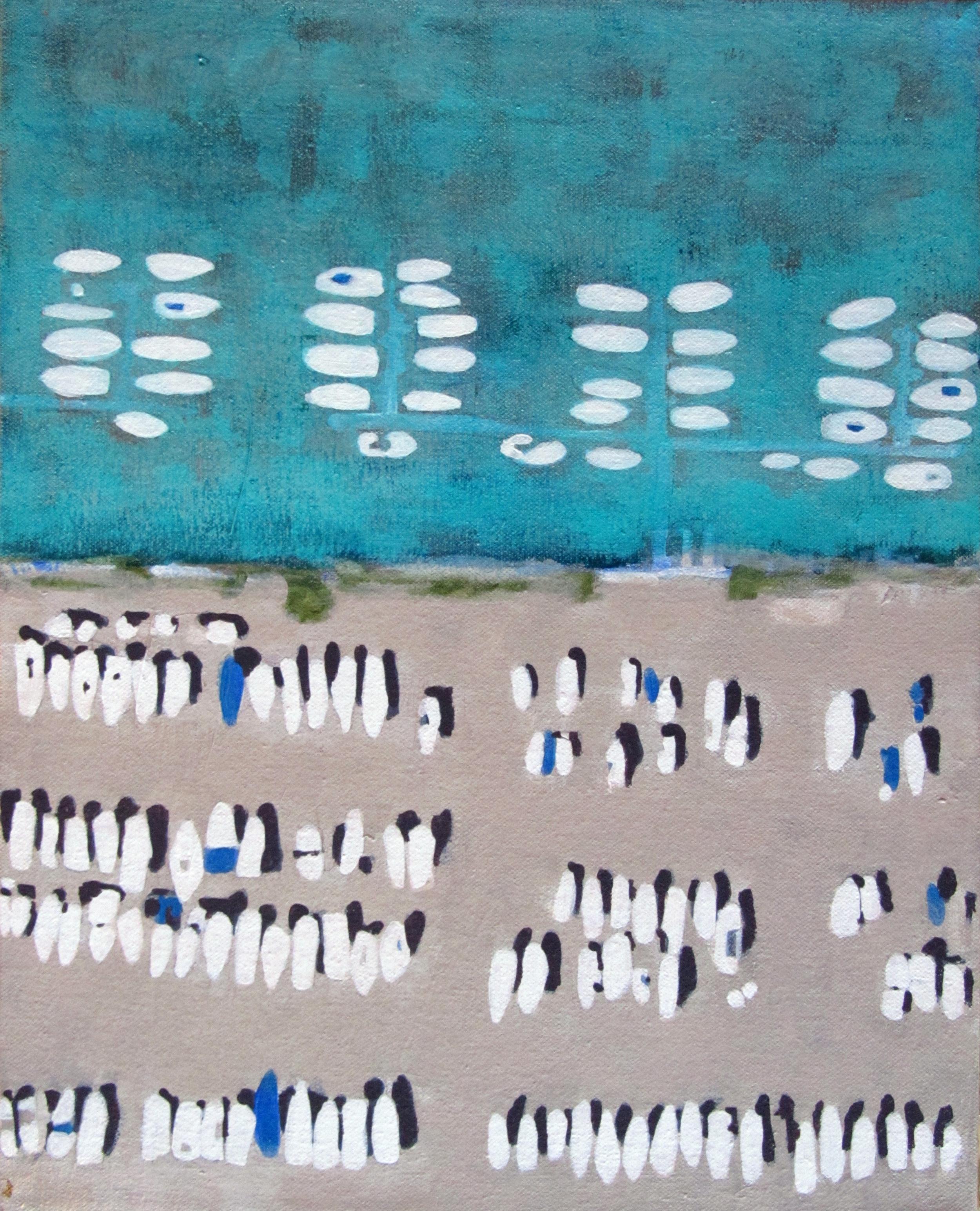 """Harbor, 2009, acrylic + alum-silver on canvas, 14""""x11"""" (≈36x28cm)"""