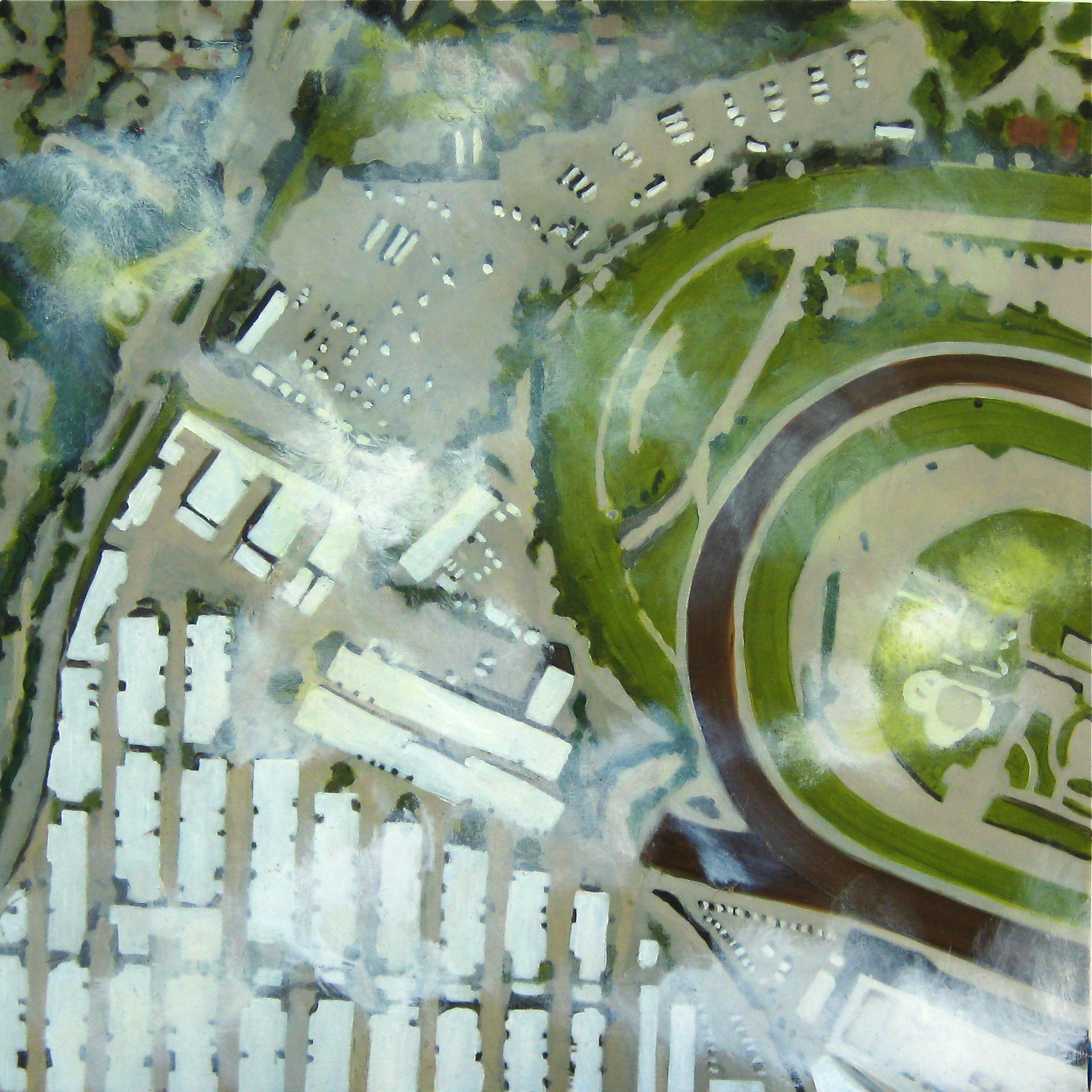 "Races, 2008, oil on canvas, 26""x26"" (≈66x66cm)"