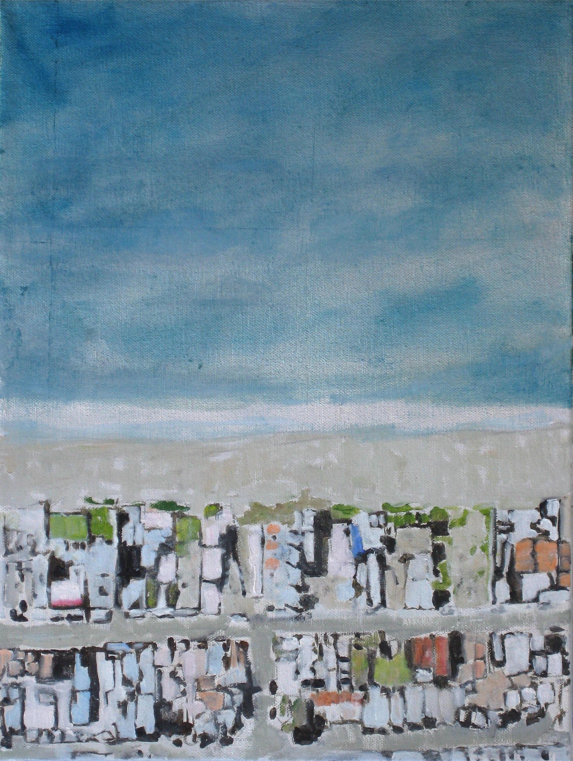 "Adrift Series #1, 2008, oil + alum-silver on canvas, 16""x12"" (≈41x30cm)"