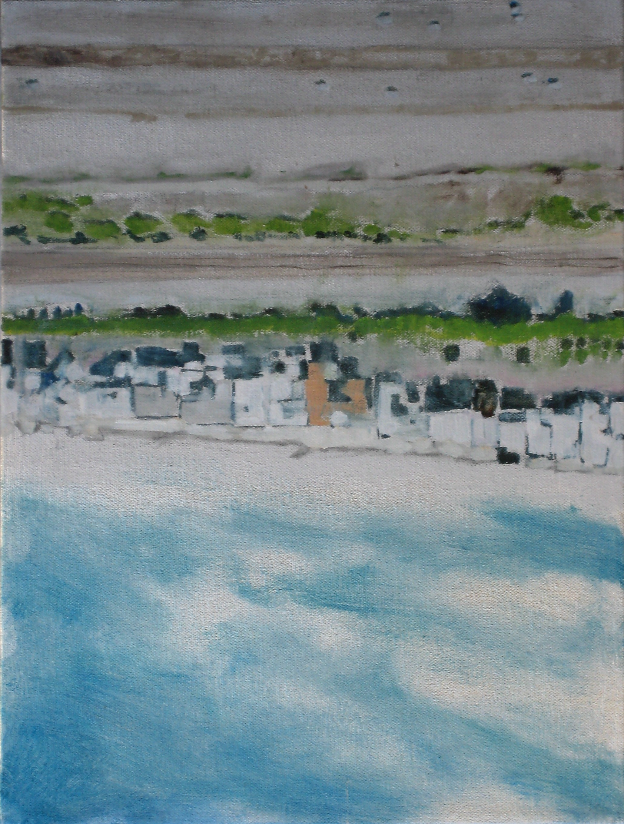 "Adrift Series #2, 2008, oil + alum-silver on canvas, 16""x12"" (≈41x30cm)"