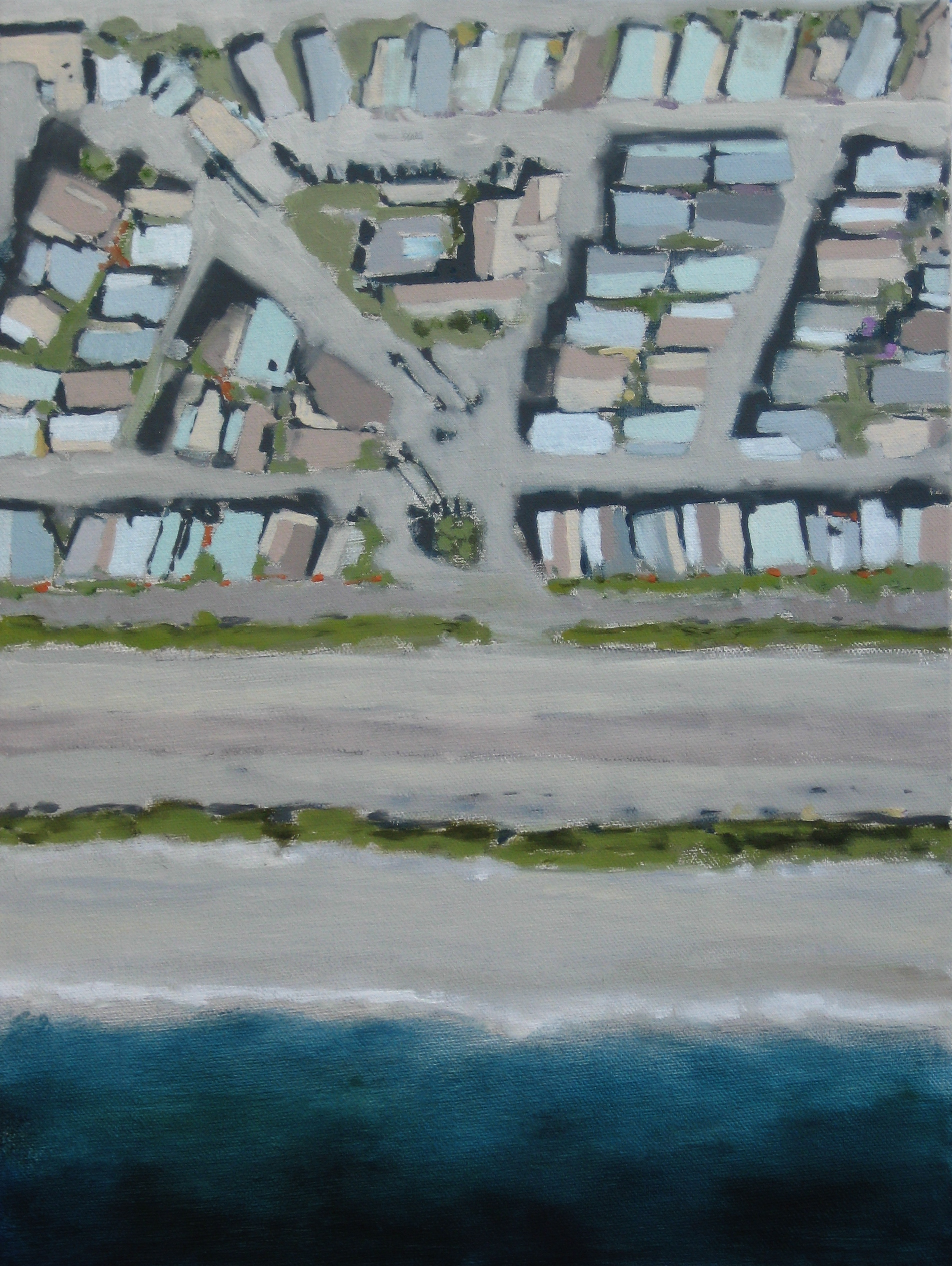 "Adrift Series #5, 2008, oil + alum-silver on canvas, 16""x12"" (≈41x30cm)"