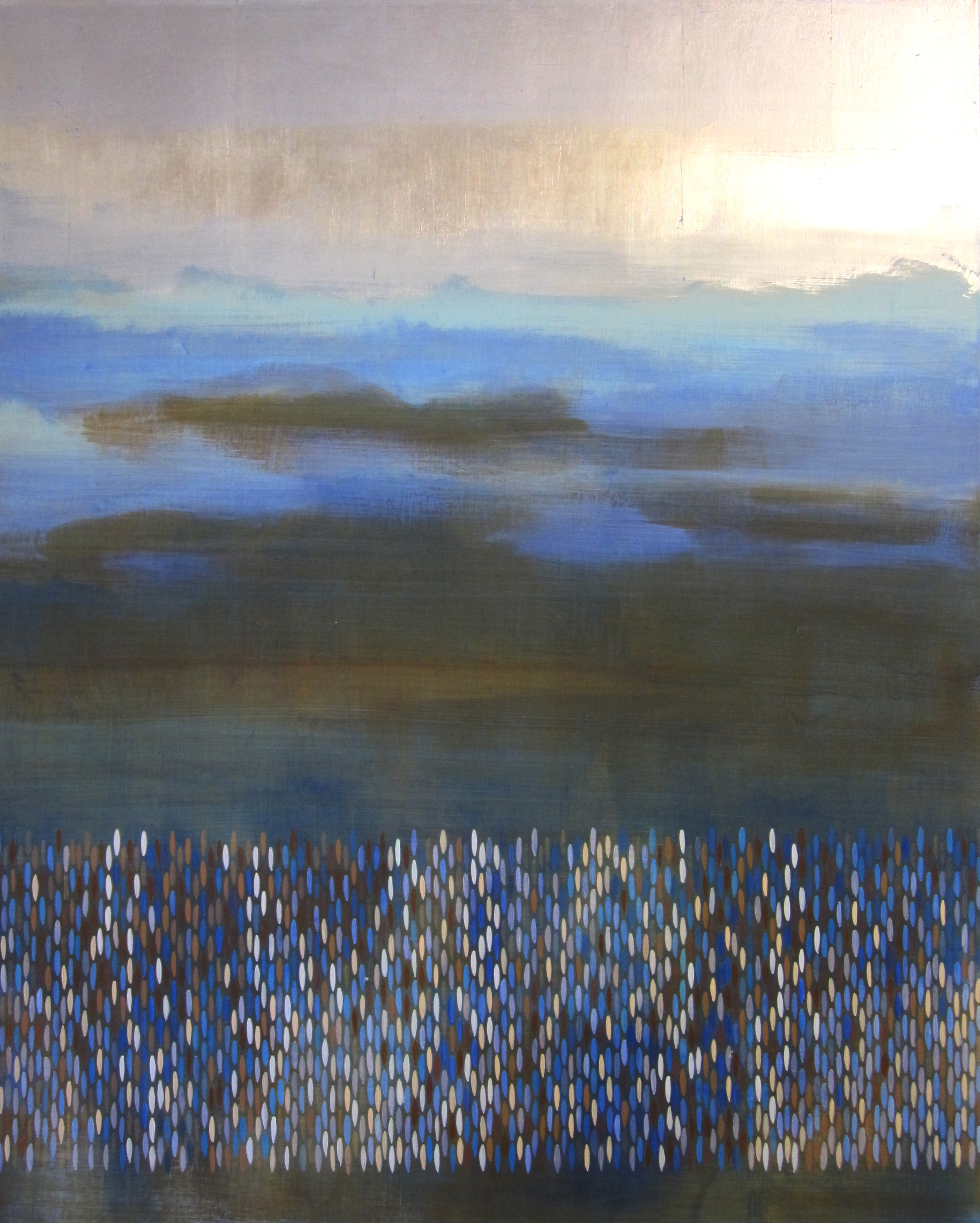 "Following Sea, 2010, acrylic + alum-silver on canvas, 42""x34"" (≈107x86cm)"
