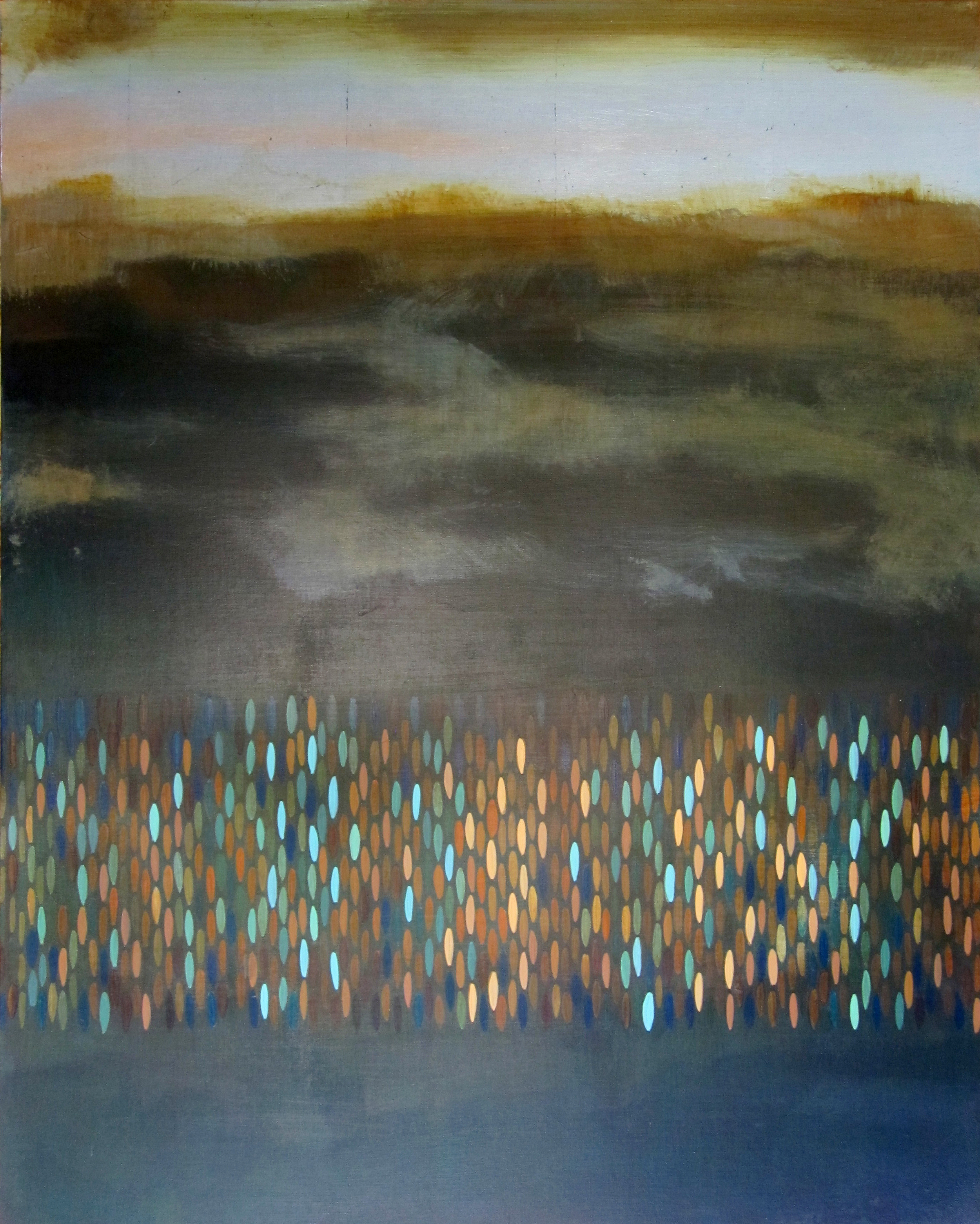 "Afloat (Cobalt Teal), 2009, acrylic + alum-silver on canvas, 30""x24"" (≈76x61cm)"