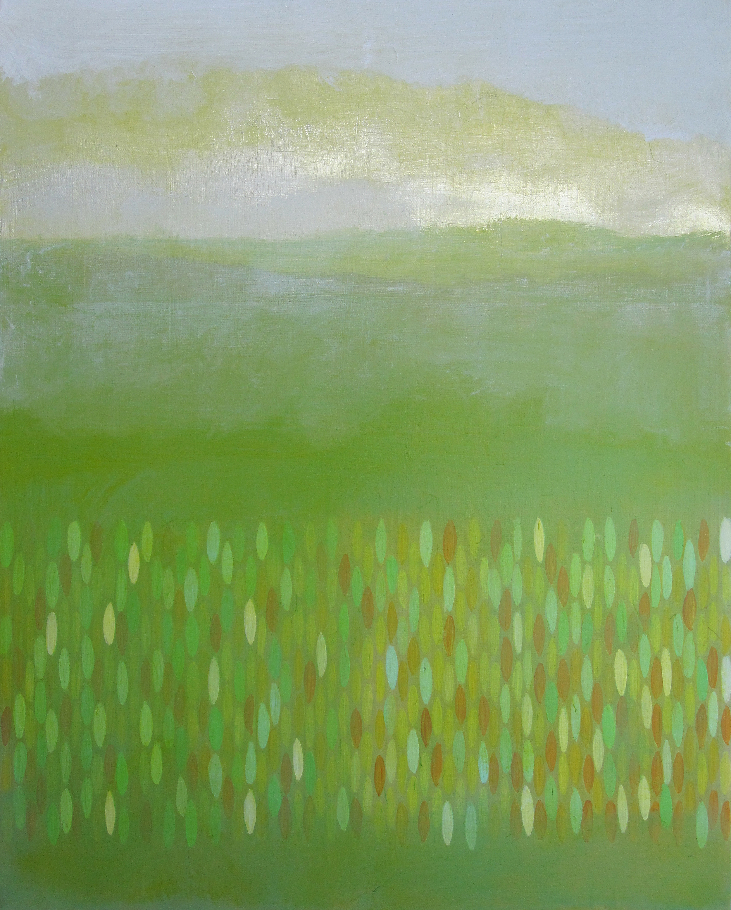 "Making Way, 2009, acrylic + alum-silver on canvas, 20""x16"" (≈51x41cm)"