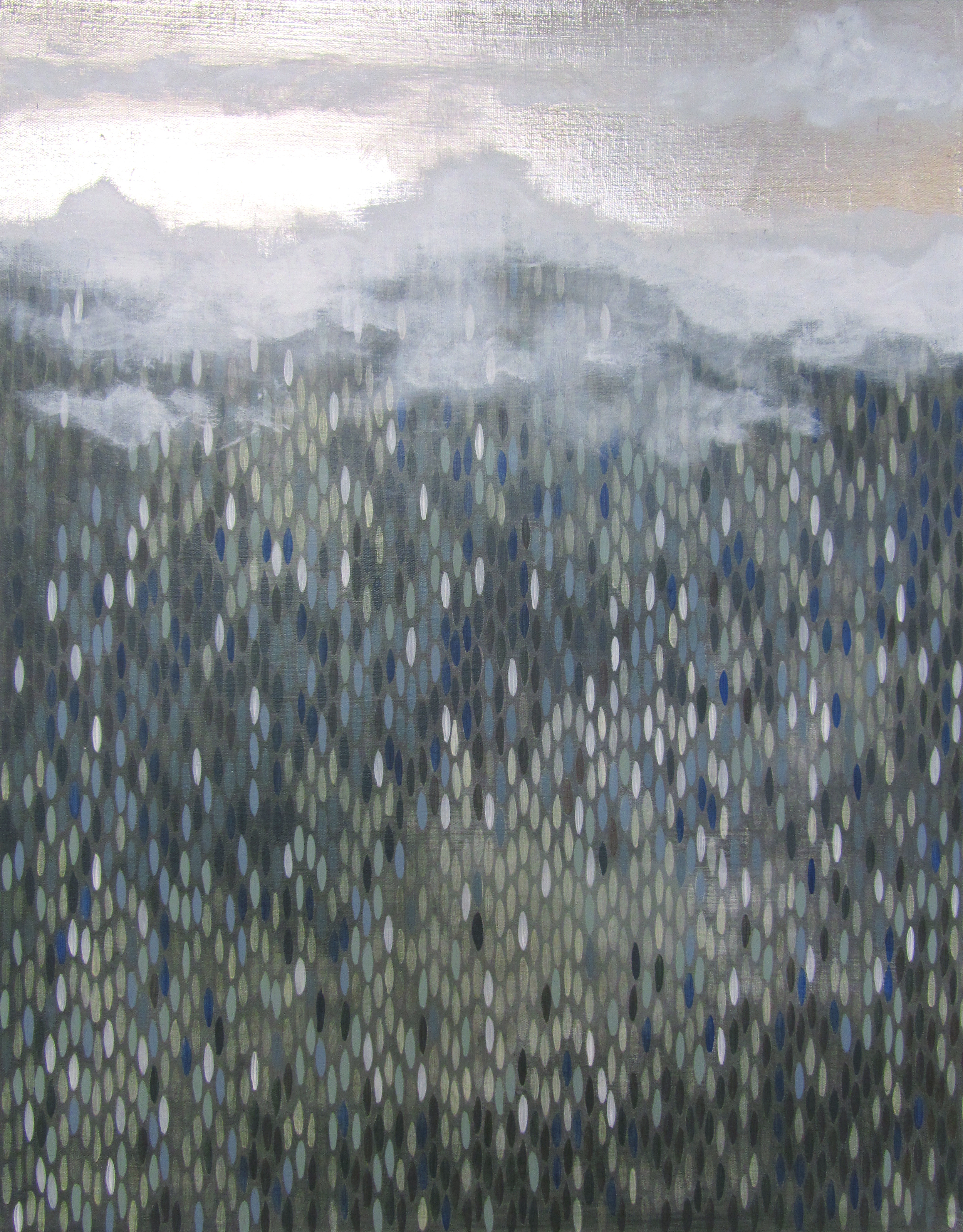 "For and Aft, 2011, acrylic + alum-silver on canvas, 28""x22"" (≈71x56cm)"