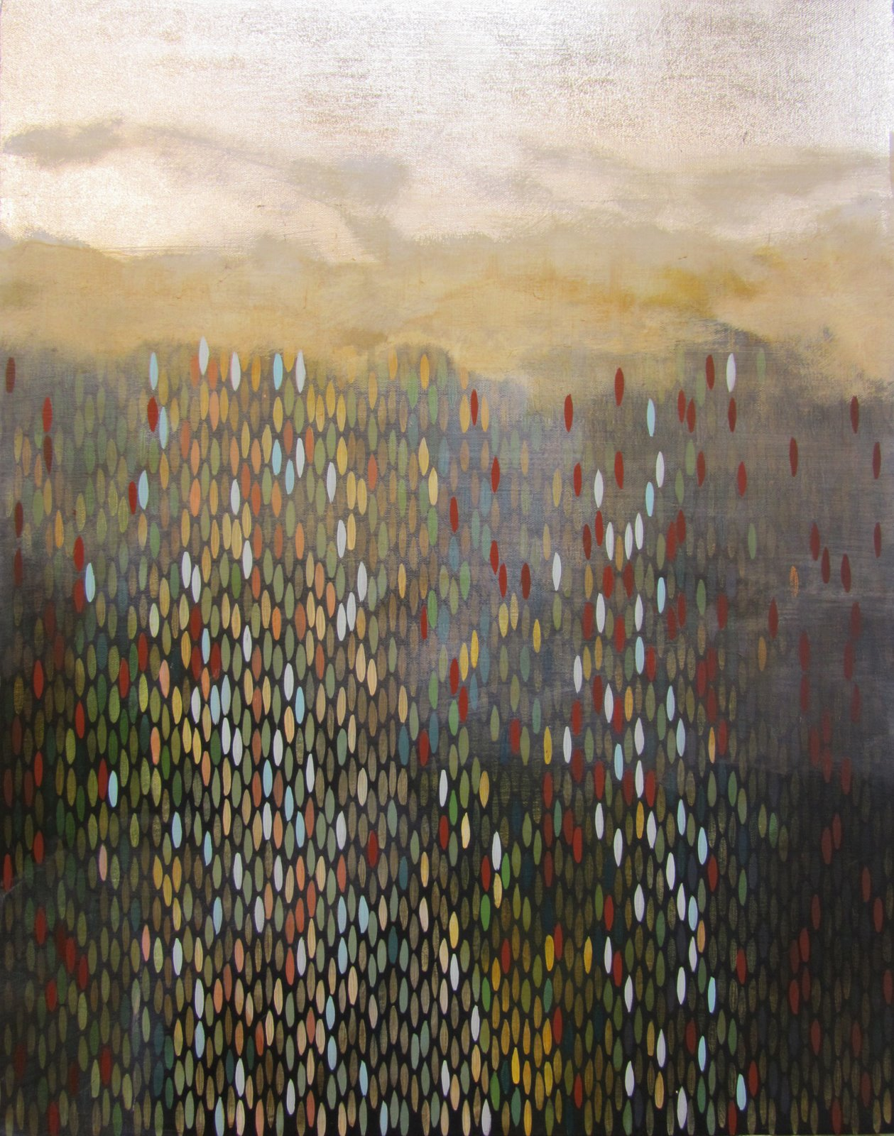 "Ashore, 2011, acrylic + alum-silver on canvas, 28""x22"" (≈71x56cm)"